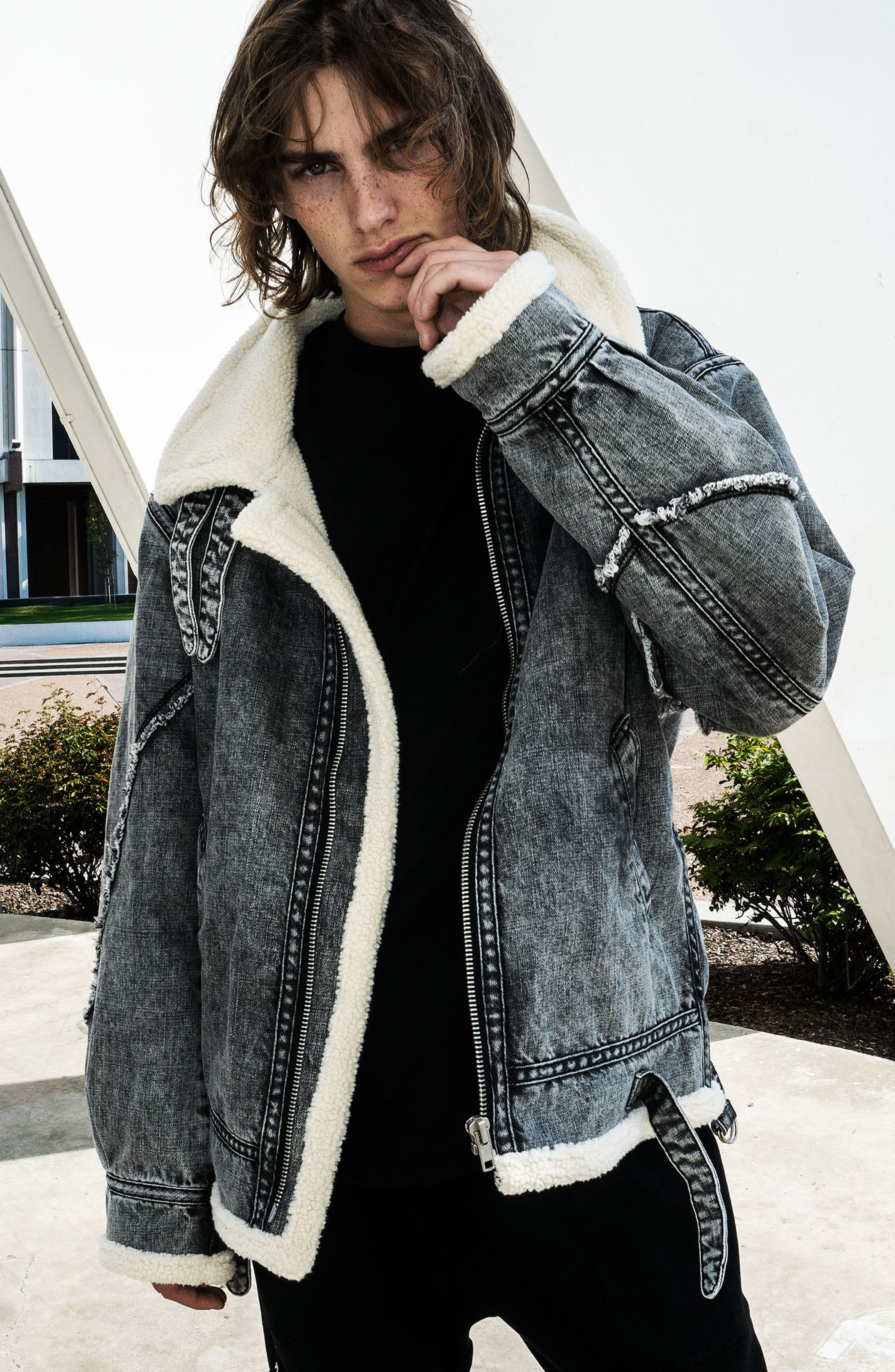 Denim Bomber Jacket,                             Alternate thumbnail 8, color,                             036