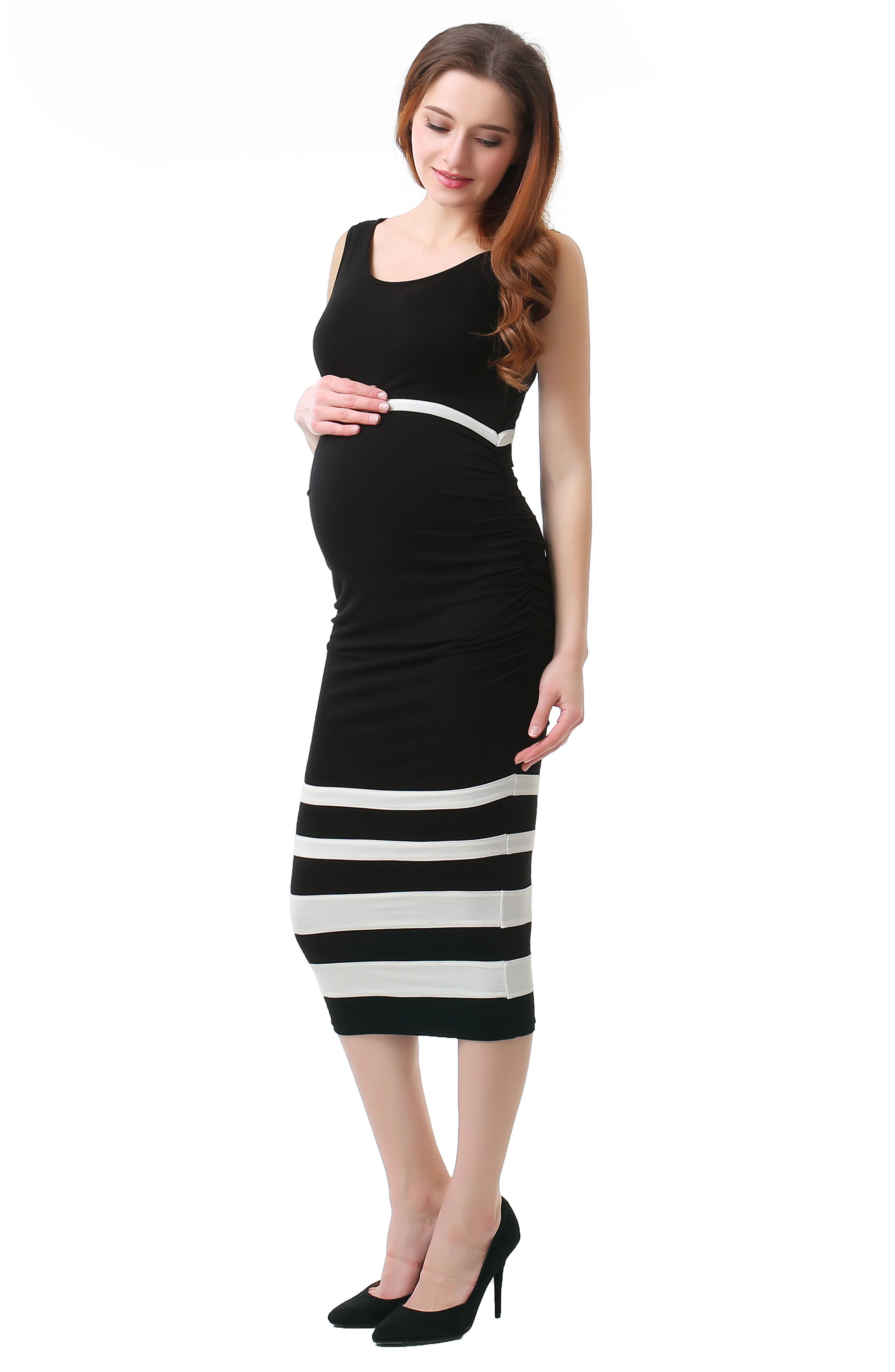Miranda Colorblock Maternity Body-Con Dress,                             Alternate thumbnail 4, color,                             BLACK/ WHITE