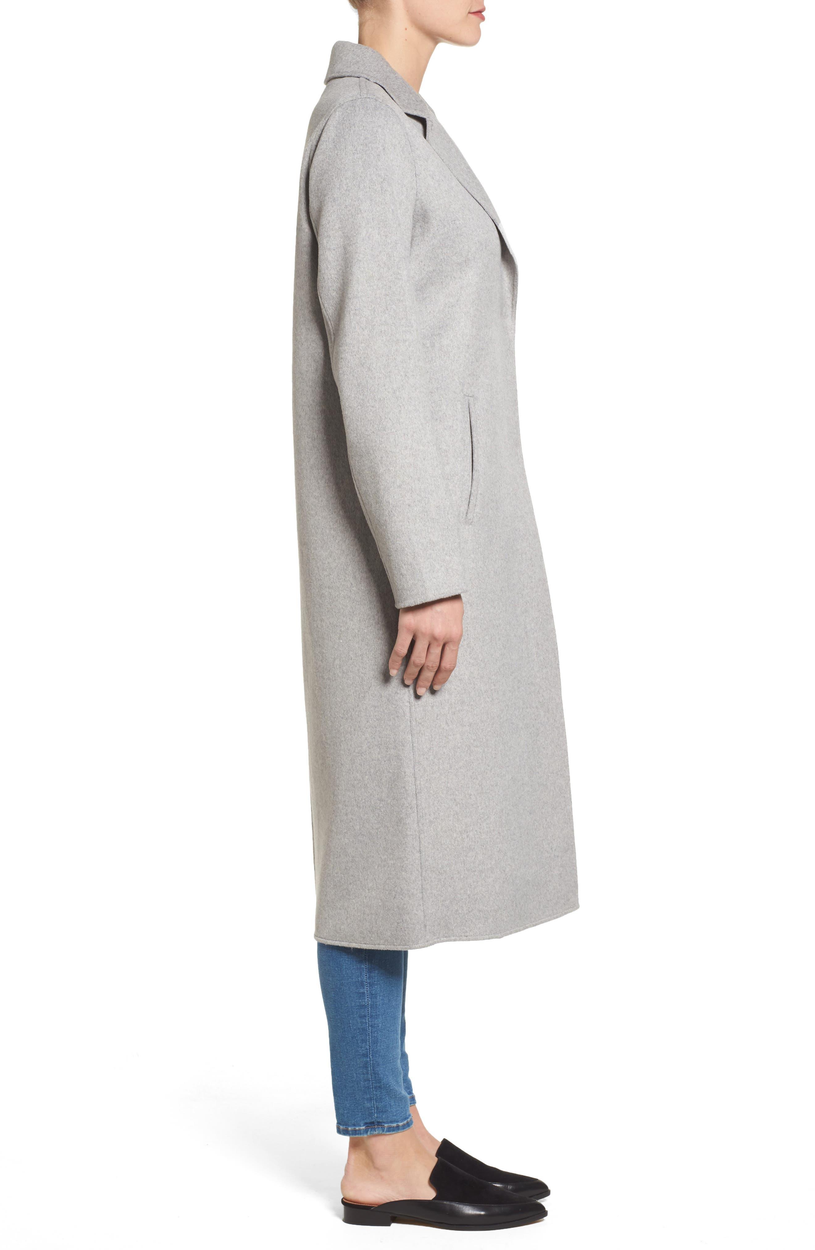 Double Face Wool Blend Long Coat,                             Alternate thumbnail 3, color,                             033