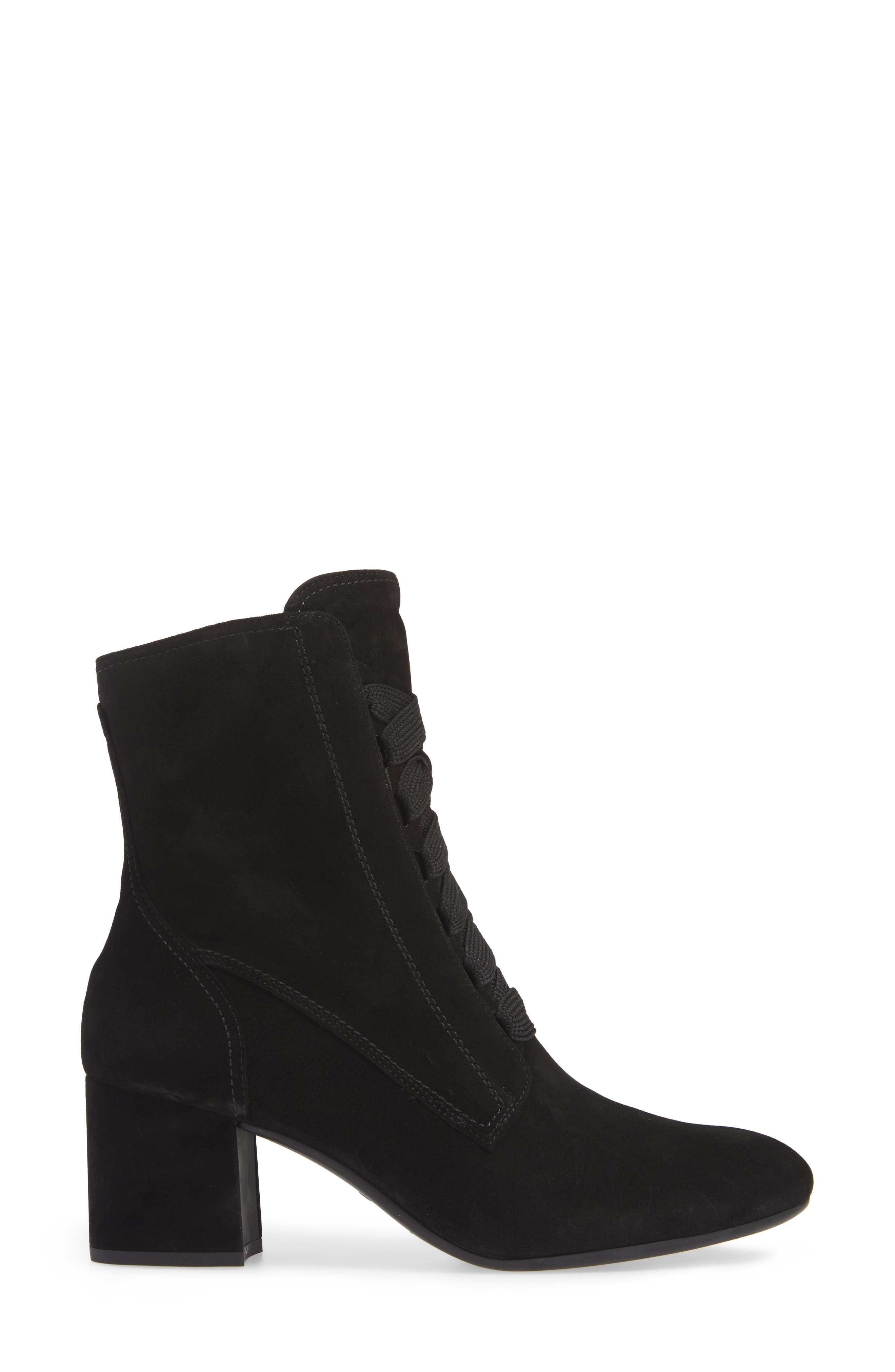 Tracy Lace-Up Bootie,                             Alternate thumbnail 3, color,                             BLACK SUEDE