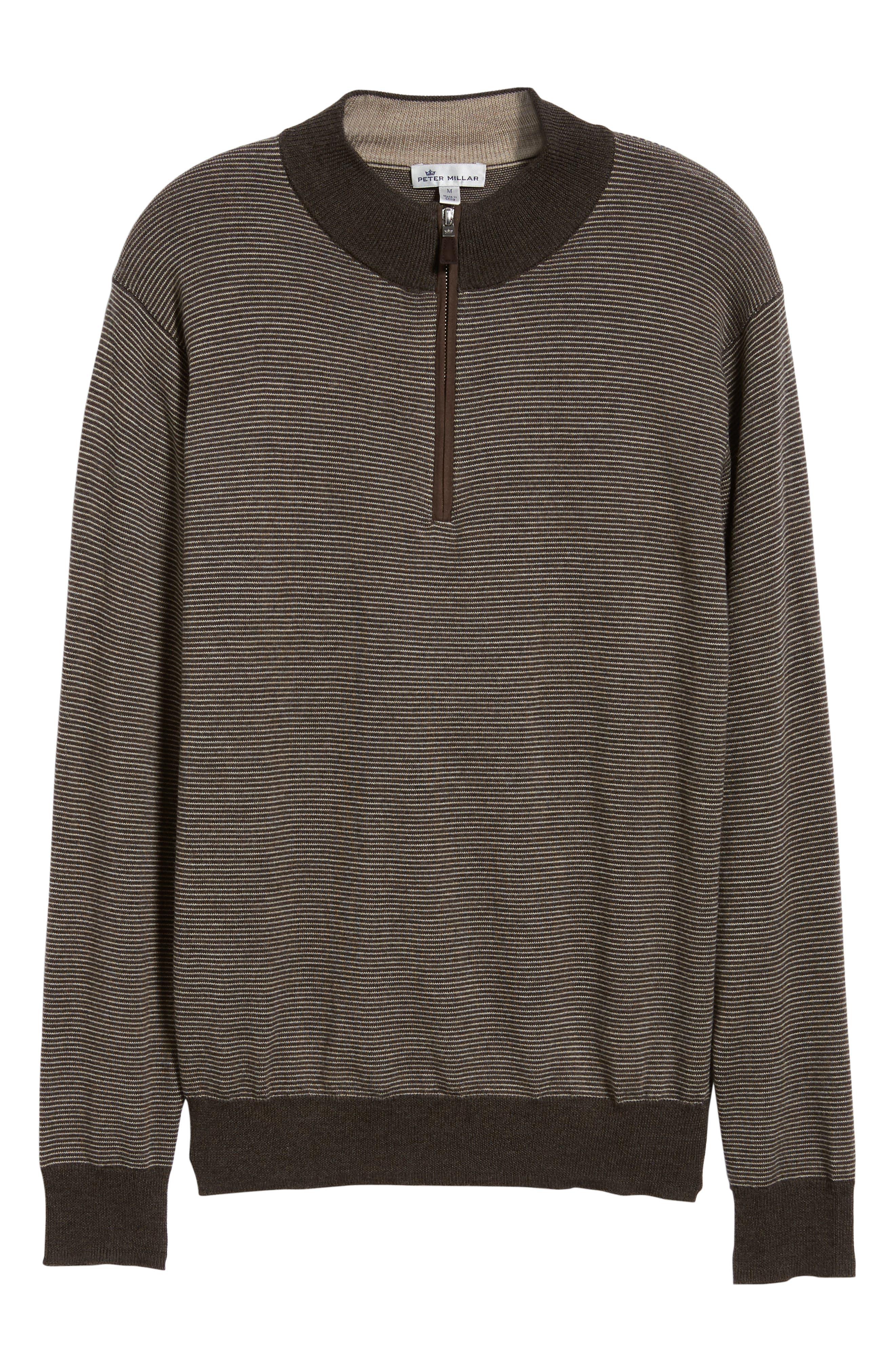 Needle Stripe Quarter Zip Sweater,                             Alternate thumbnail 6, color,                             200