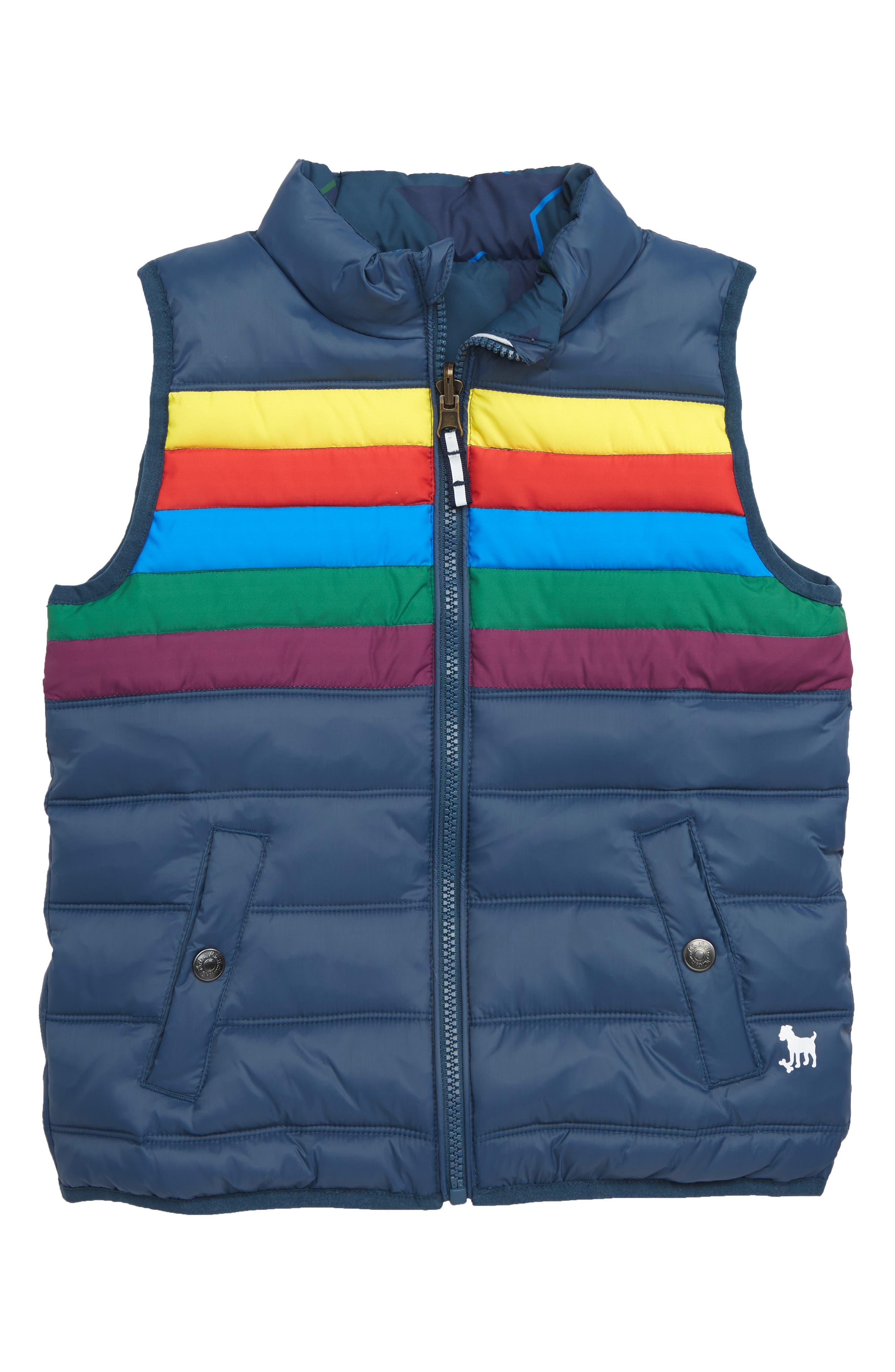 Boys Mini Boden Reversible Puffer Vest Size 45Y  Blue