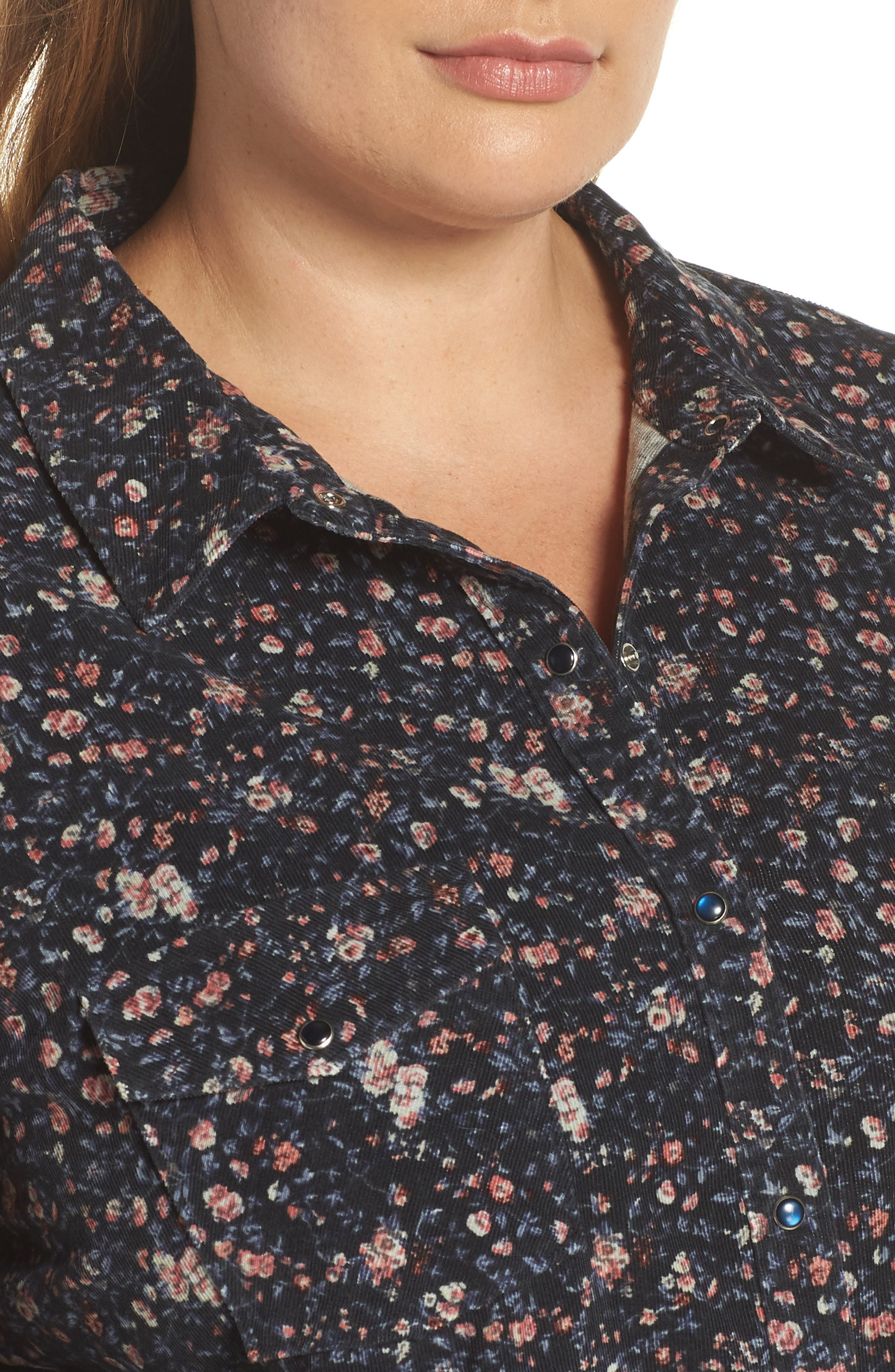 Floral Work Shirt,                             Alternate thumbnail 4, color,                             PIXIE REVL