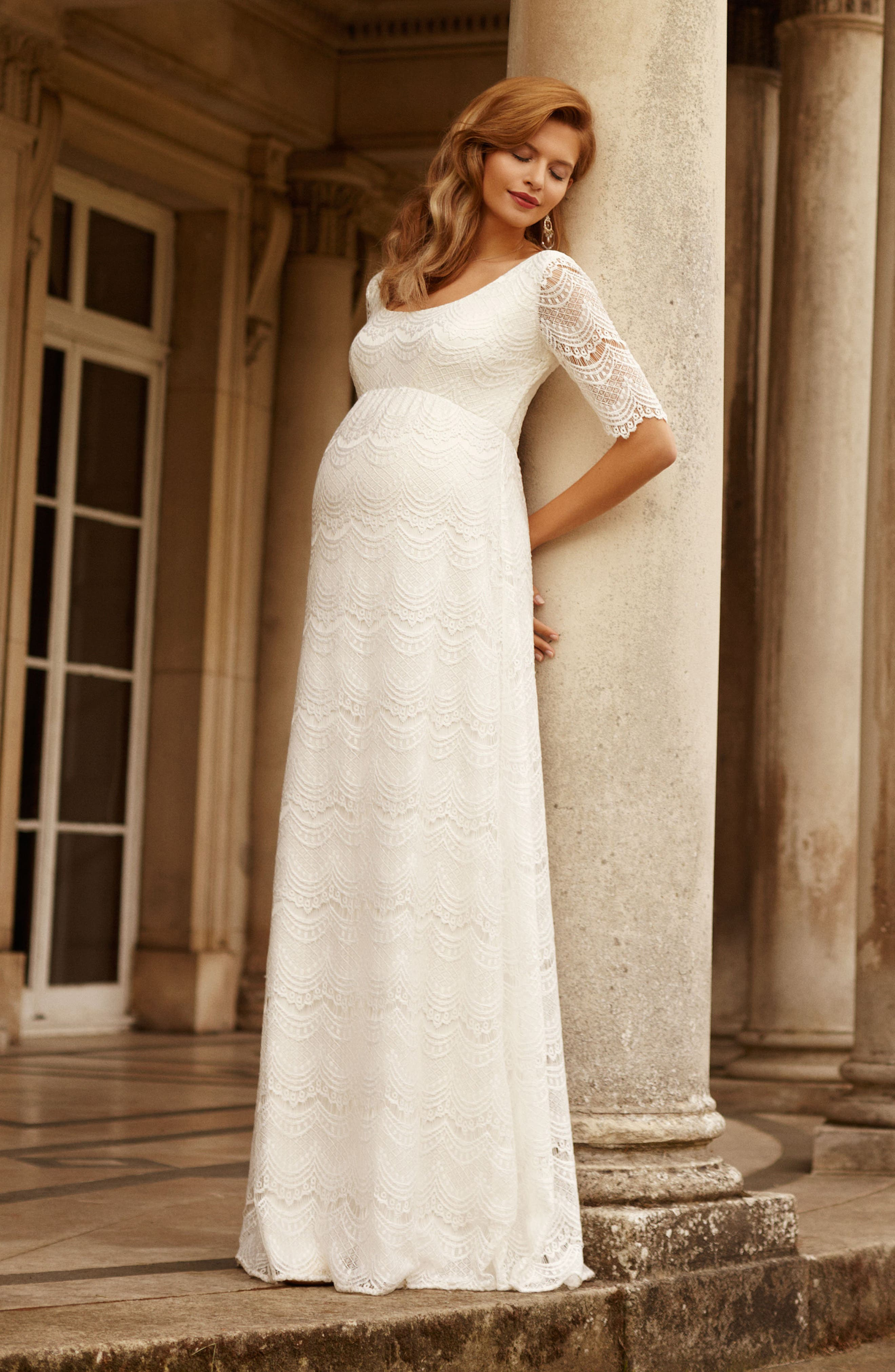 Verona Maternity Gown,                             Alternate thumbnail 4, color,                             BRIGHT IVORY