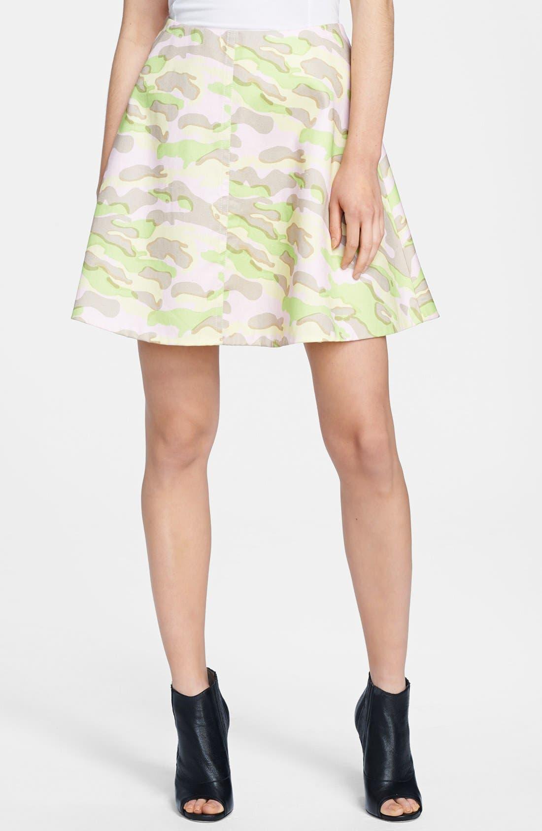 CARVEN,                             Army Print Flared Skirt,                             Main thumbnail 1, color,                             680