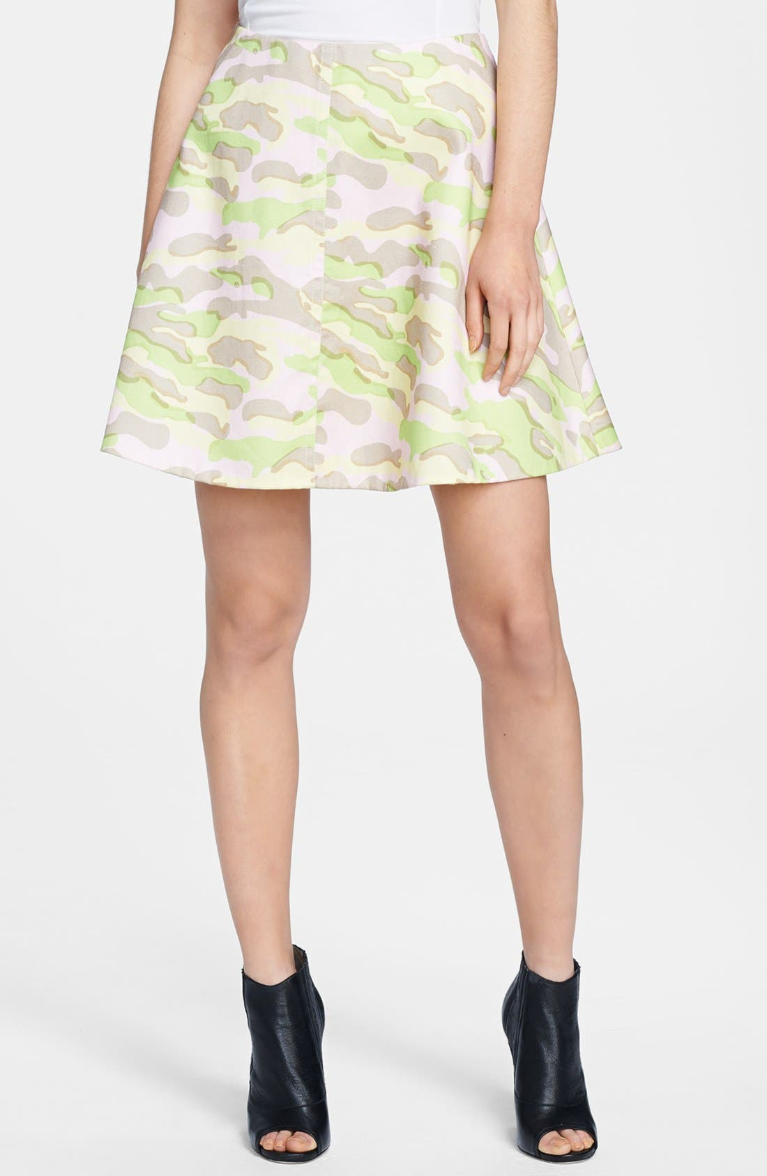CARVEN Army Print Flared Skirt, Main, color, 680