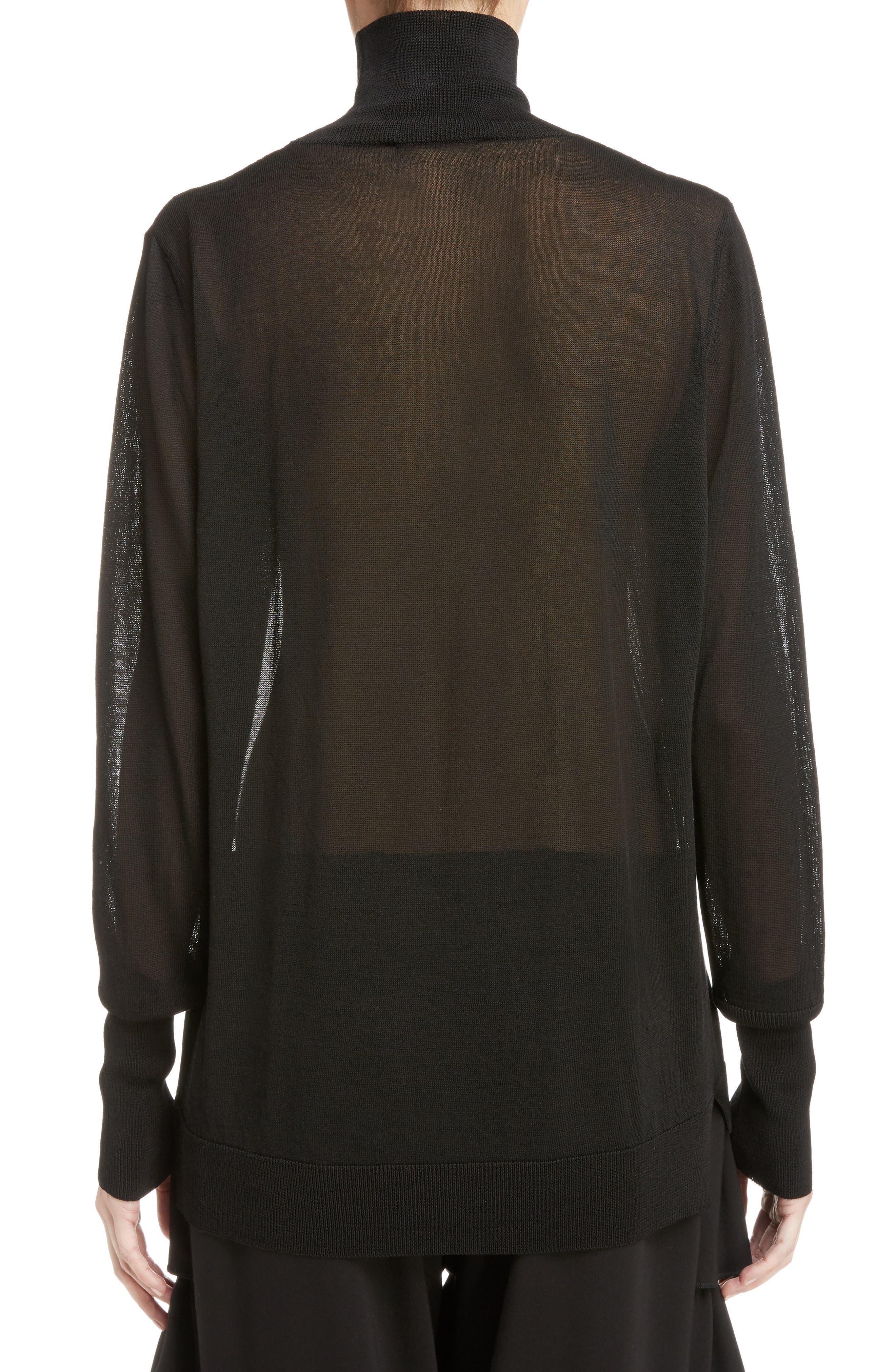 Sheer Mock Neck Sweater,                             Alternate thumbnail 3, color,                             001