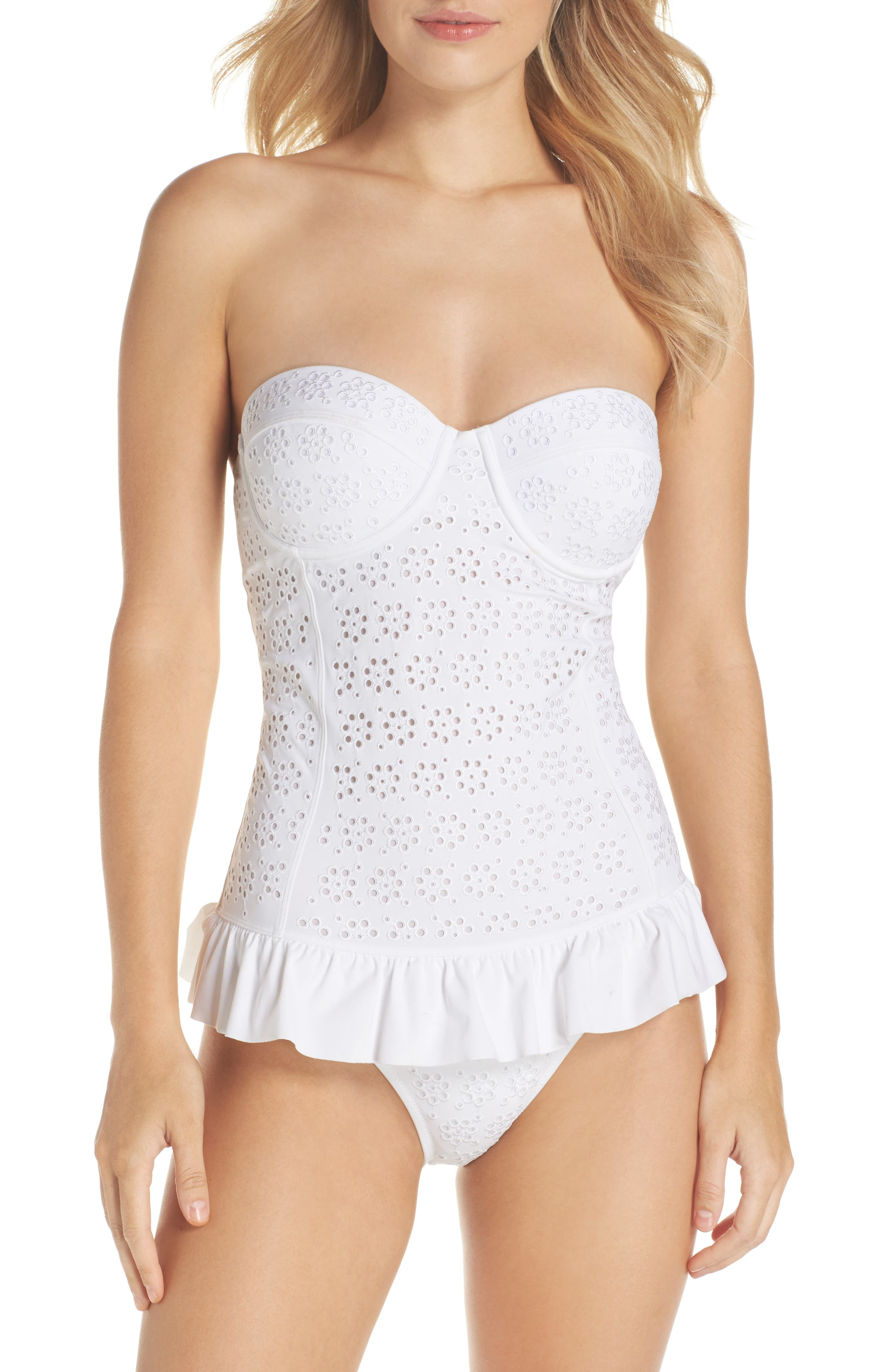 TORY BURCH Broderie Anglais Flounce Convertible One-Piece Swimsuit, Main, color, 100
