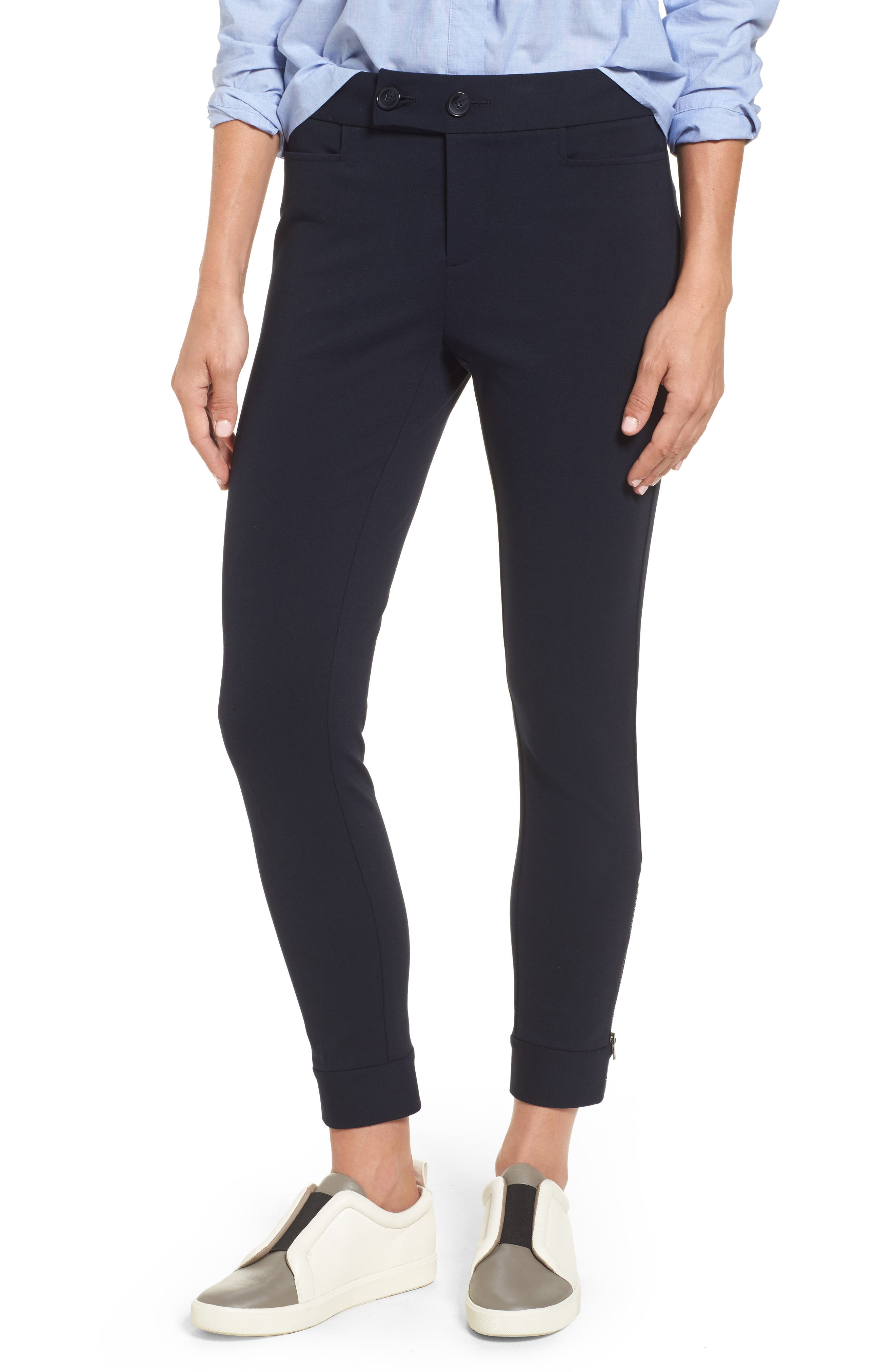 Tab Detail Ponte Ankle Pants,                             Main thumbnail 1, color,                             410