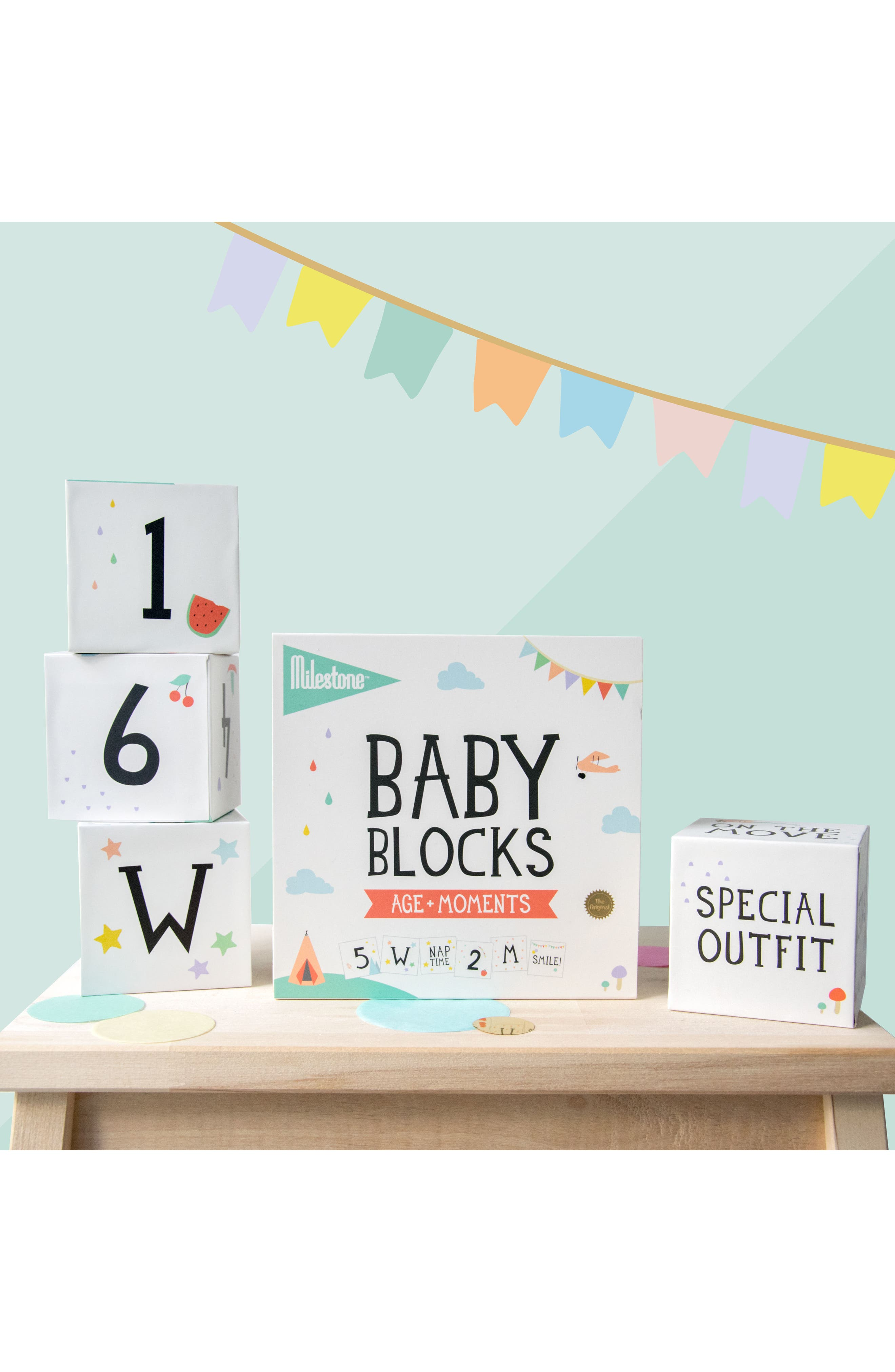 Milestone Baby Age + Moments Blocks,                             Alternate thumbnail 4, color,                             OFF WHITE