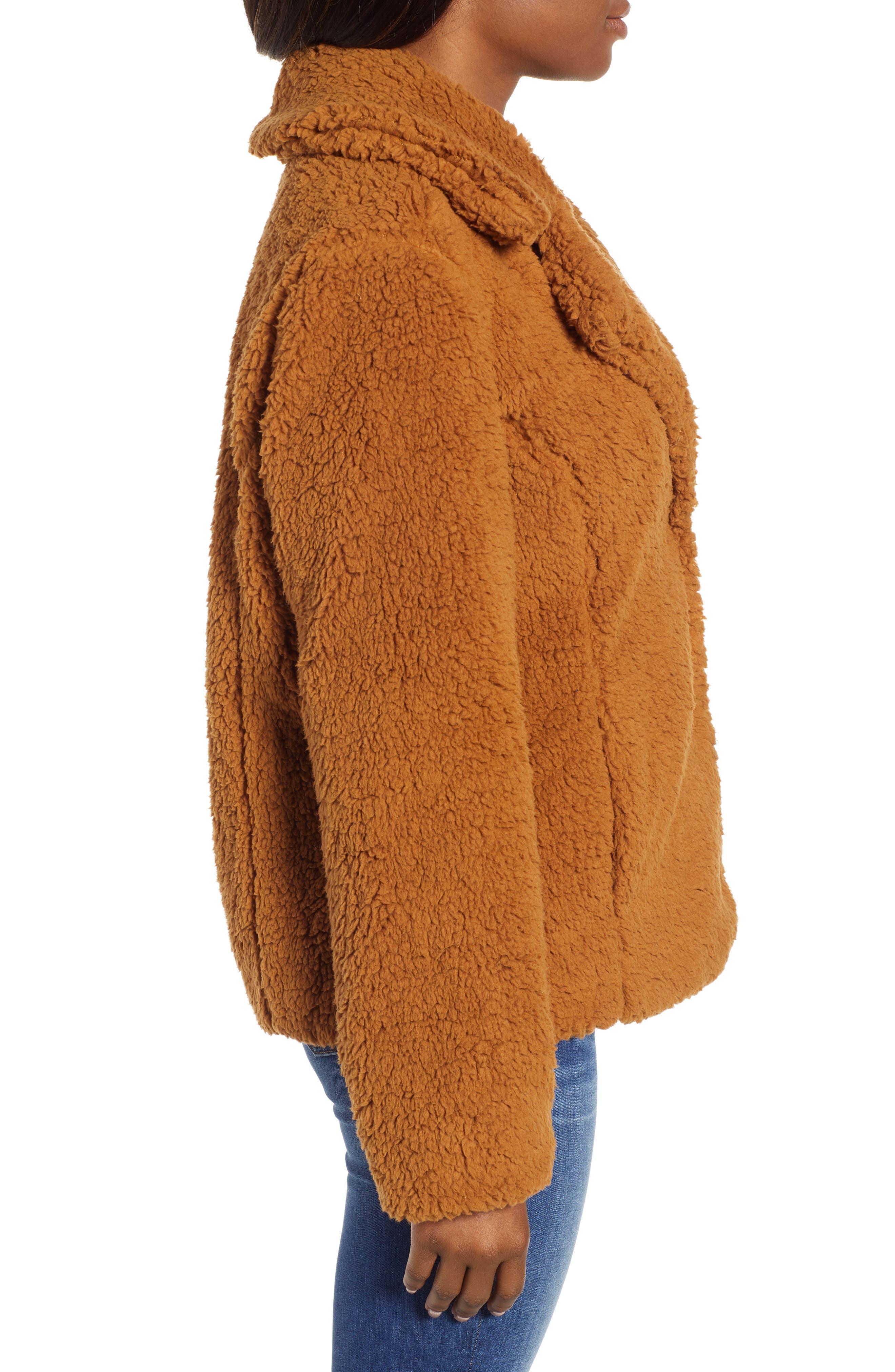 Faux Shearling Jacket,                             Alternate thumbnail 3, color,                             BROWN SADDLE