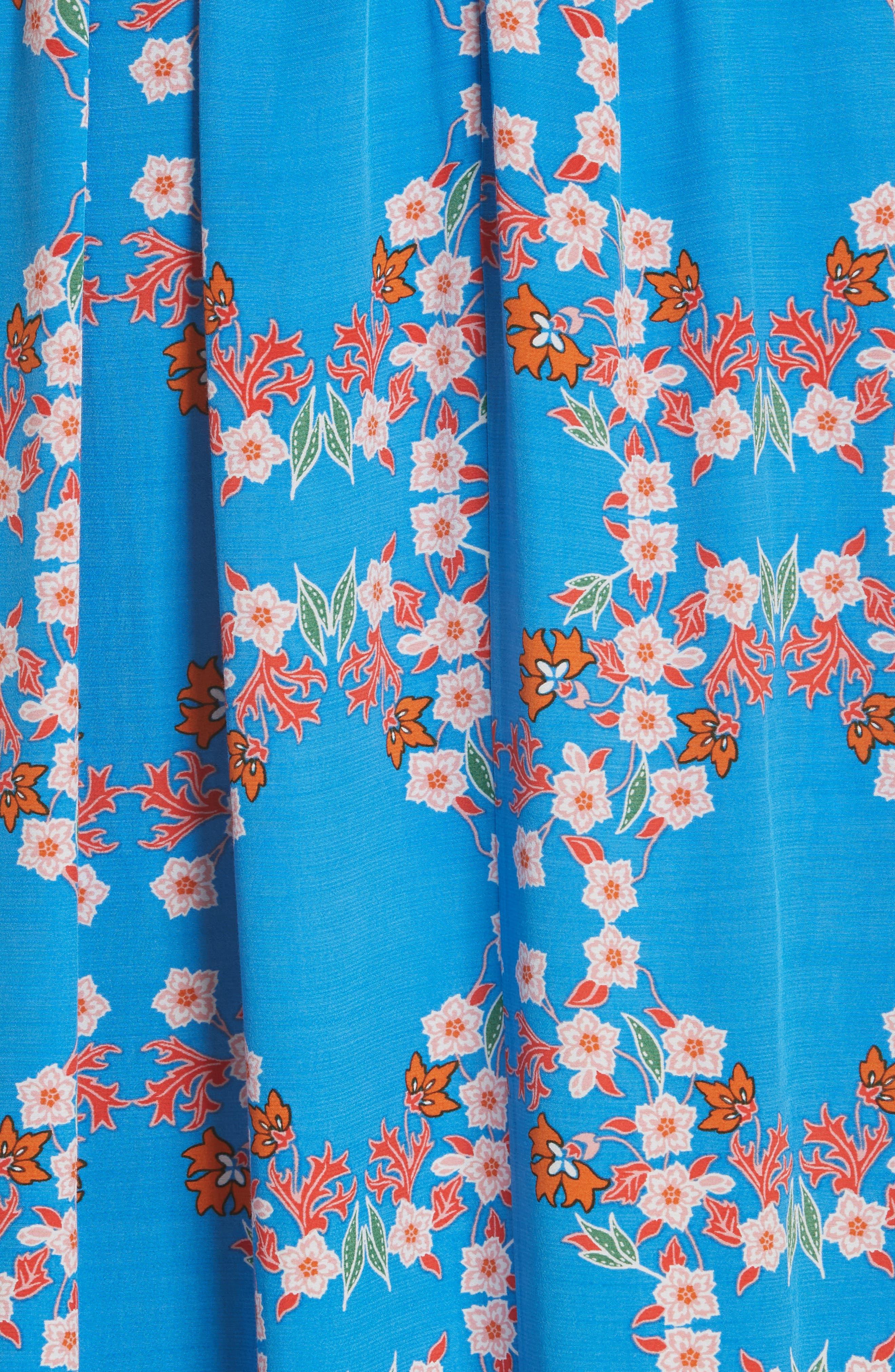 Floral Plunging Slit Dress,                             Alternate thumbnail 6, color,                             400