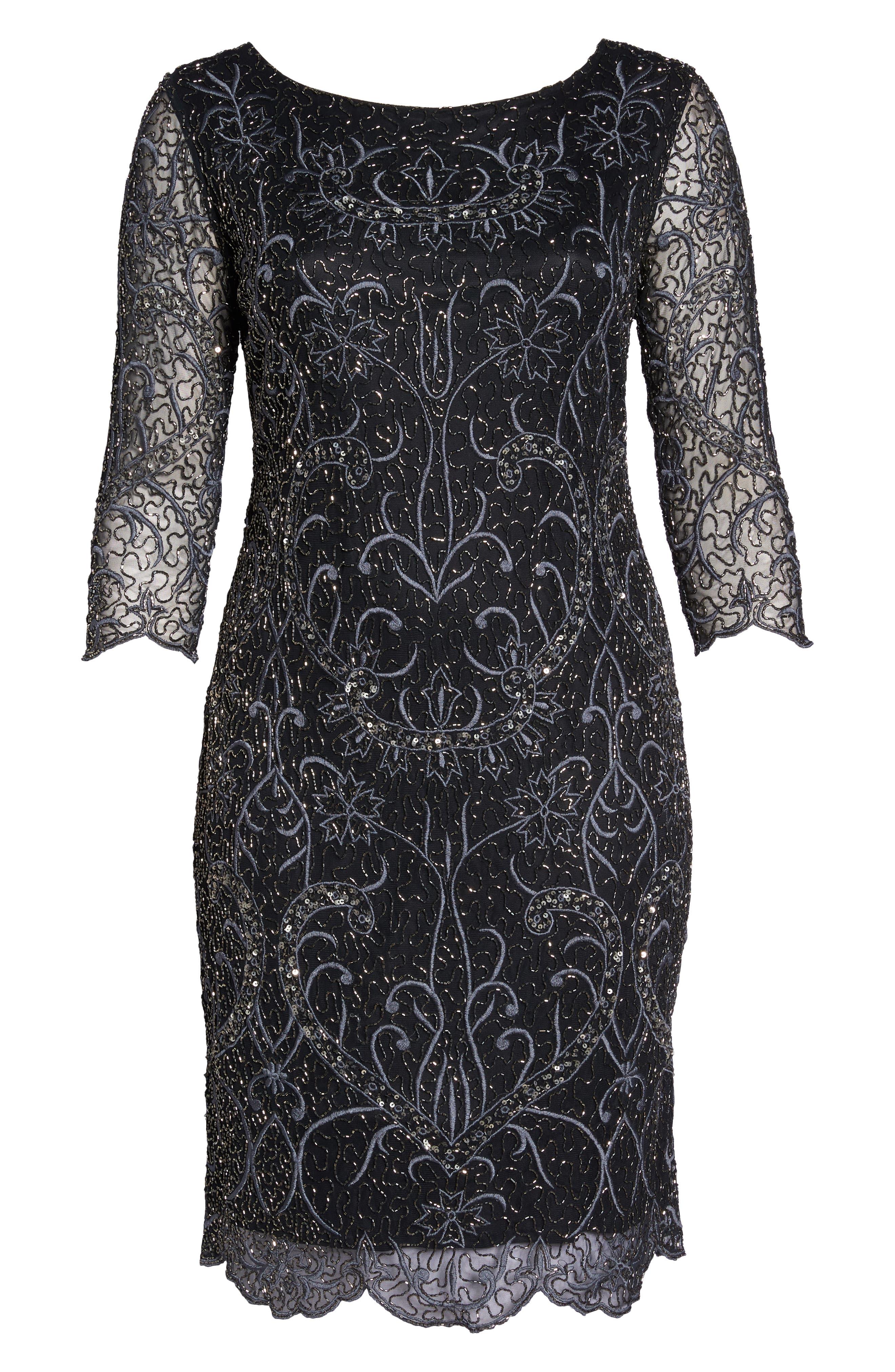 Embellished Sheath Dress,                             Alternate thumbnail 7, color,                             001