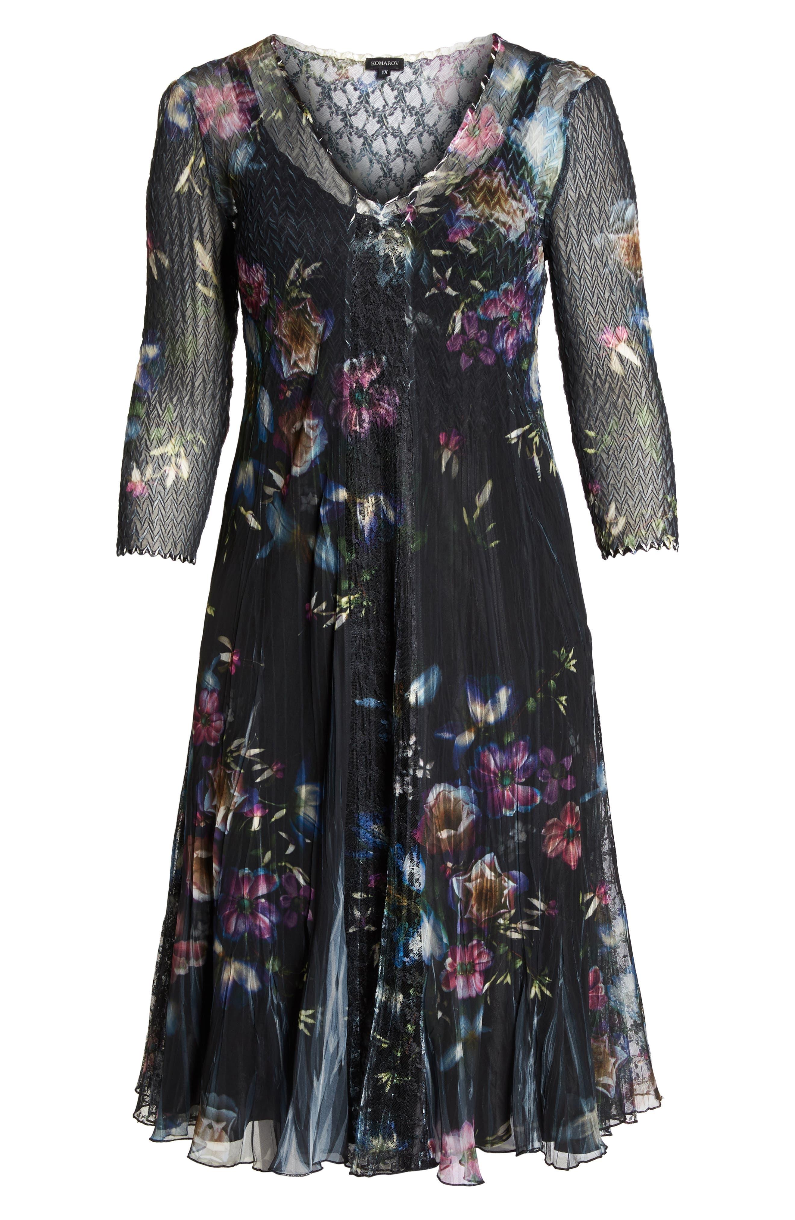 Lace Trim Floral Midi Dress,                             Alternate thumbnail 6, color,                             001
