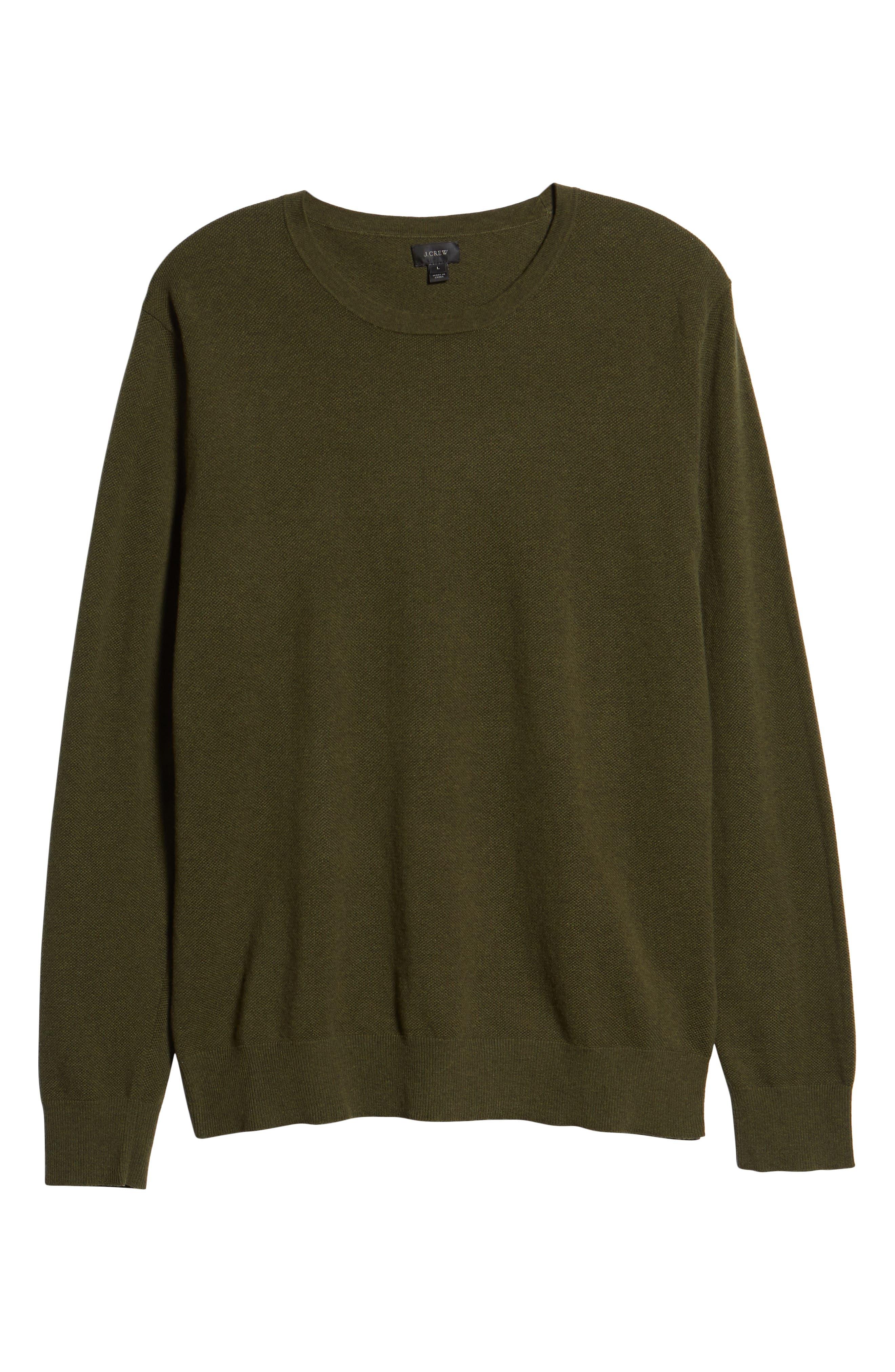 Cotton & Cashmere Piqué Crewneck Sweater,                             Alternate thumbnail 6, color,                             HEATHER OLIVE
