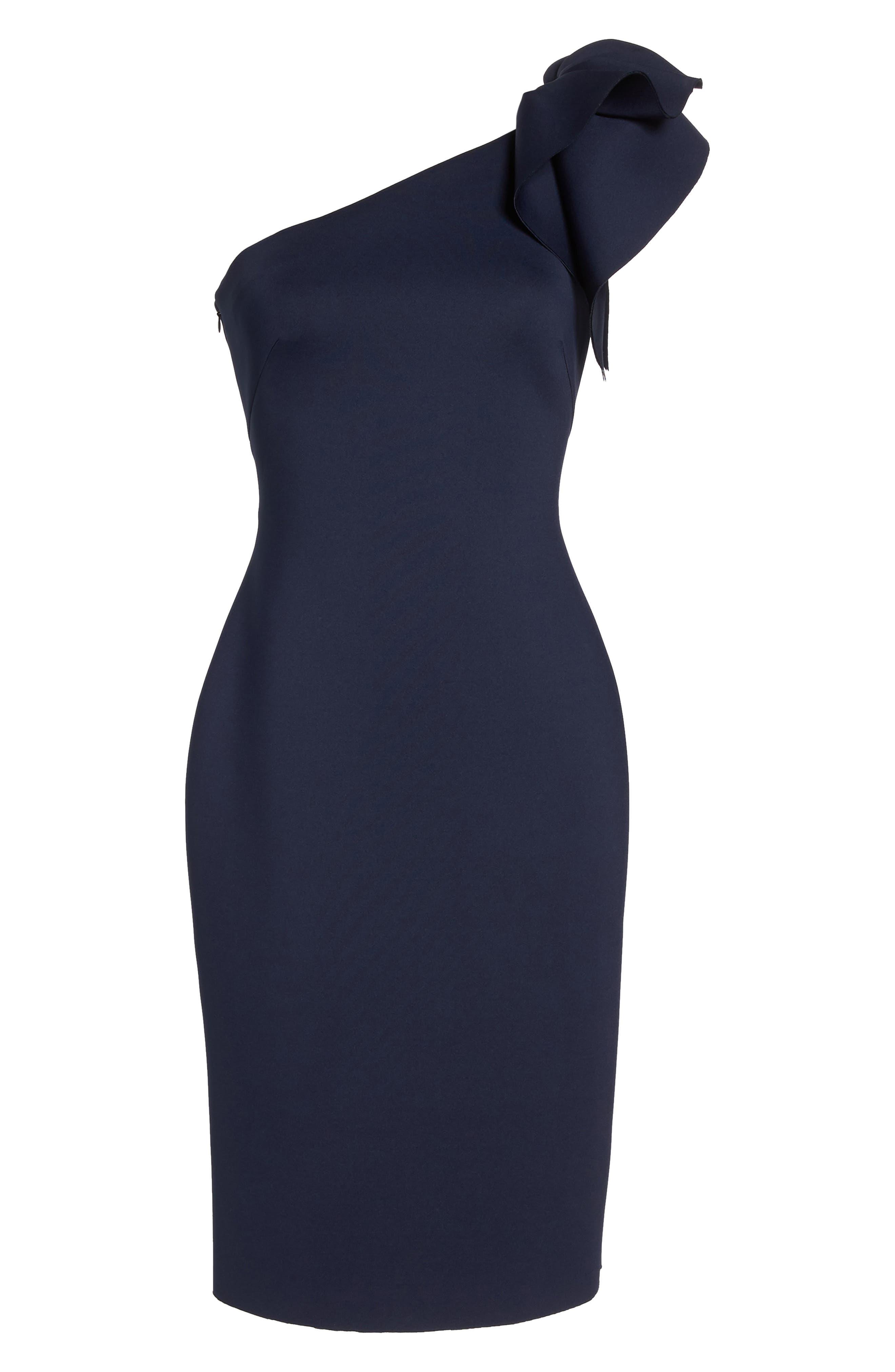 One-Shoulder Ruffle Sheath Dress,                             Alternate thumbnail 7, color,                             NAVY