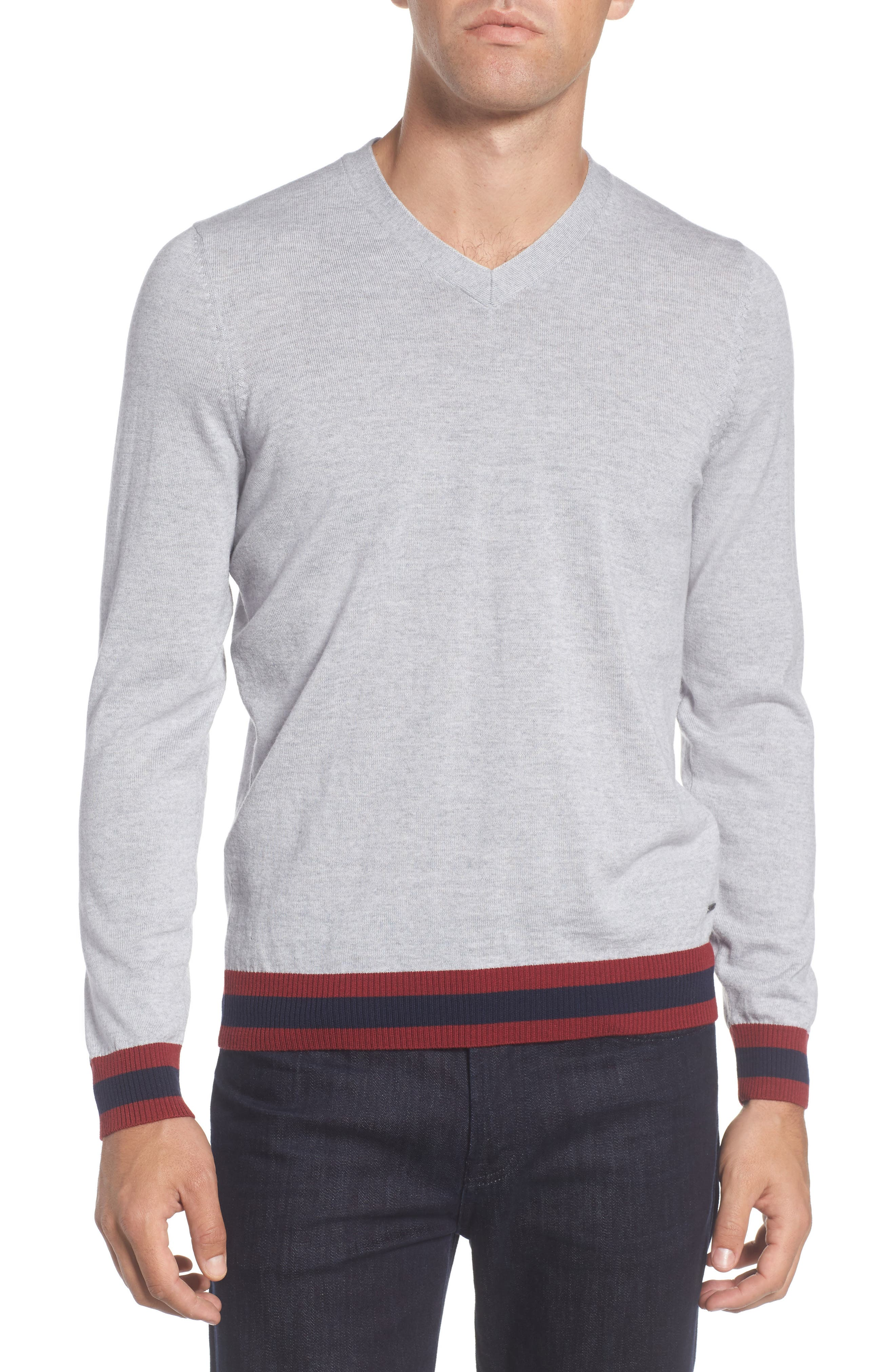 Navello Slim Fit Wool V-Neck Sweater,                             Main thumbnail 1, color,                             072