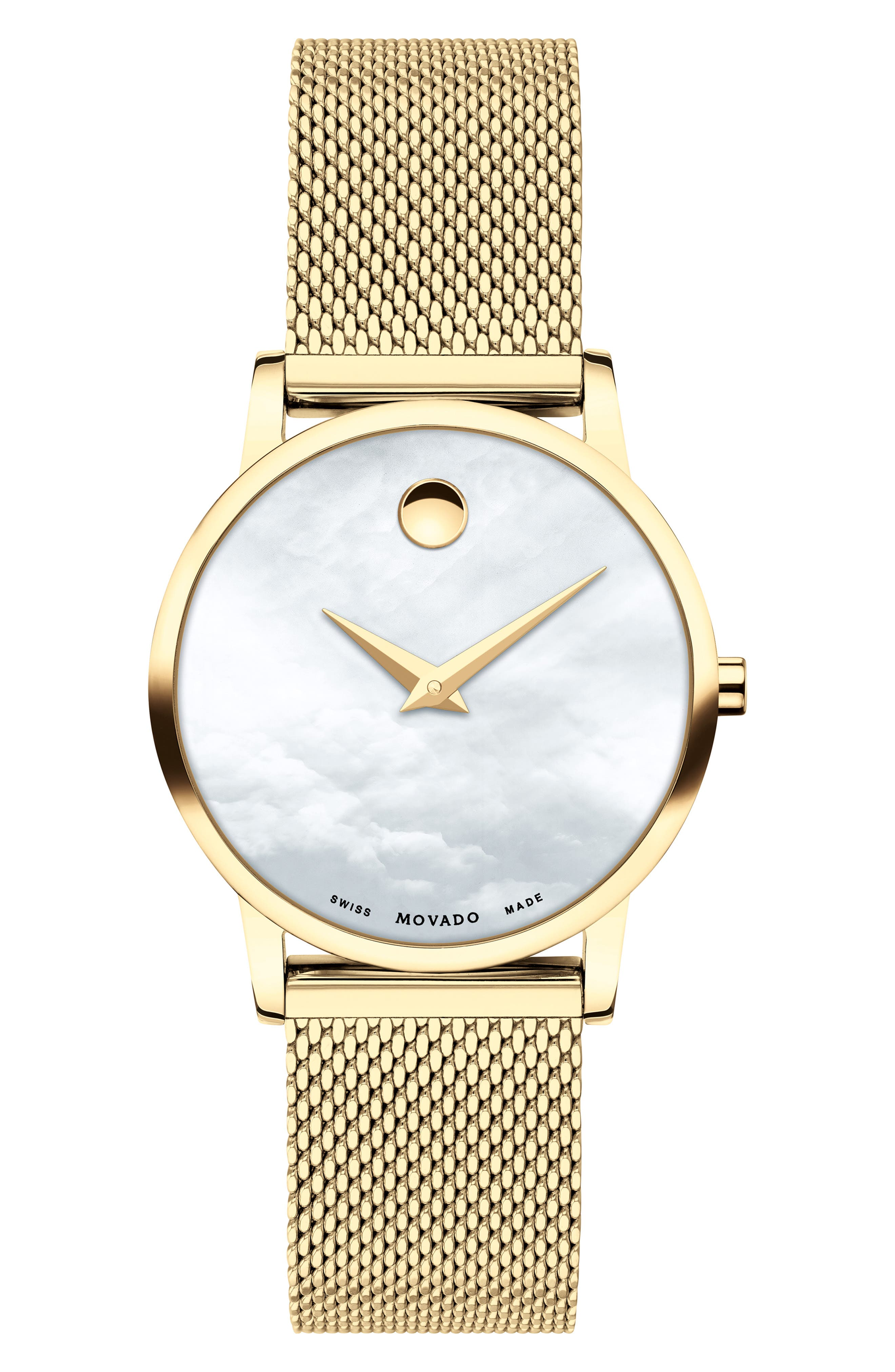 Museum Mesh Strap Watch, 28mm, Main, color, GOLD/ WHITE MOP/ GOLD