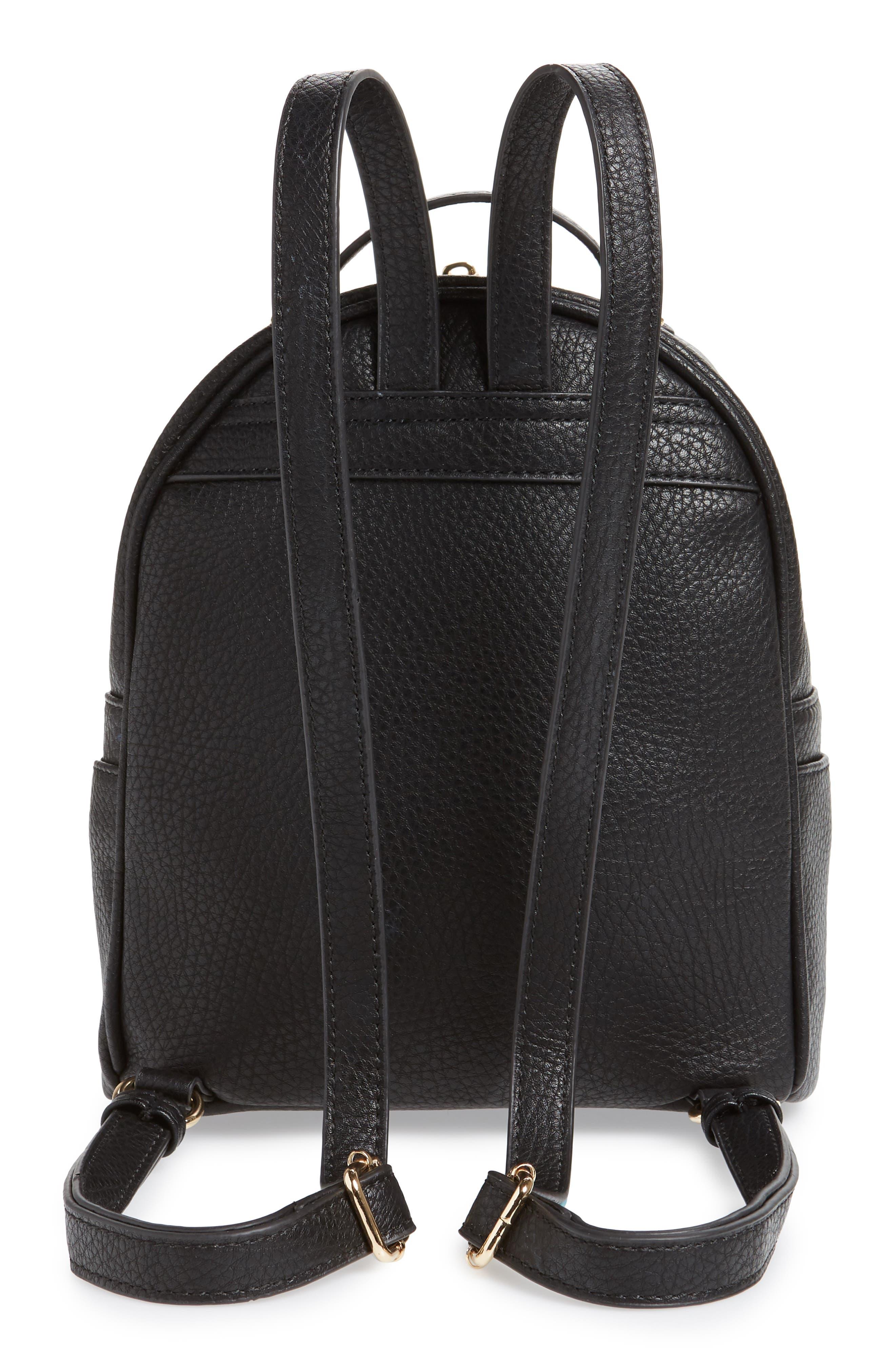 MALI + LILI,                             Hanny Vegan Leather Backpack,                             Alternate thumbnail 3, color,                             BLACK