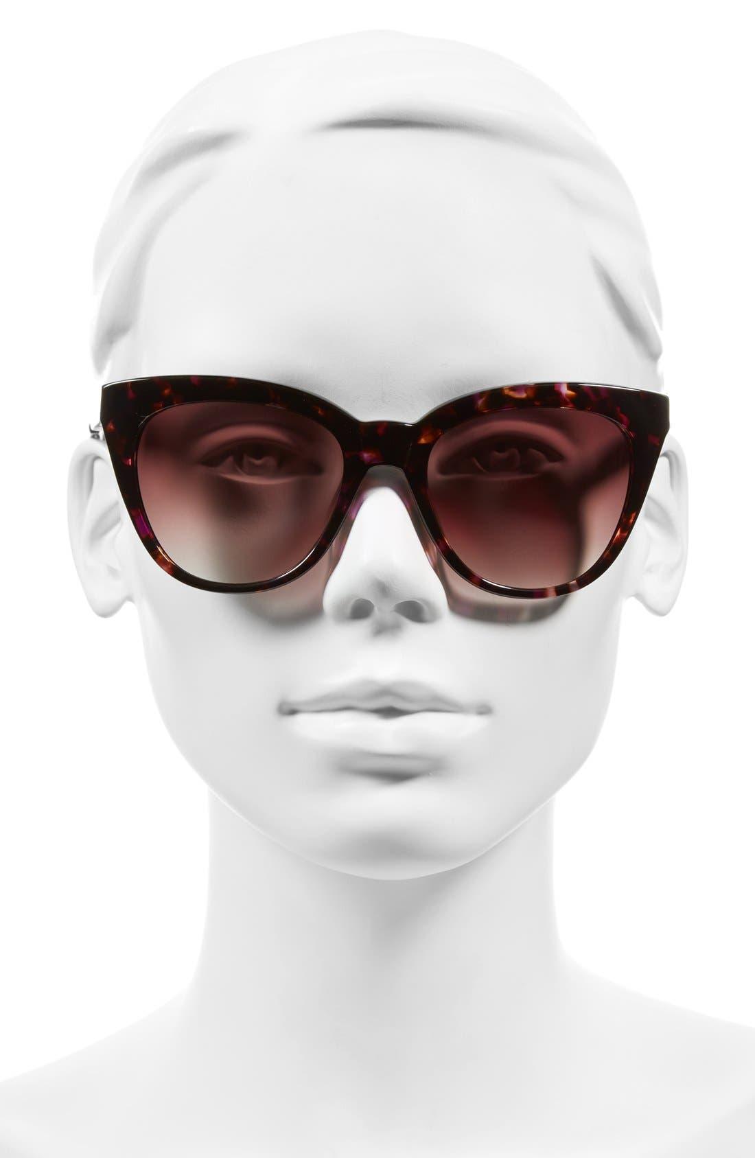 'Lenox' 53mm Cat Eye Sunglasses,                             Alternate thumbnail 2, color,                             PURPLE TORTOISE