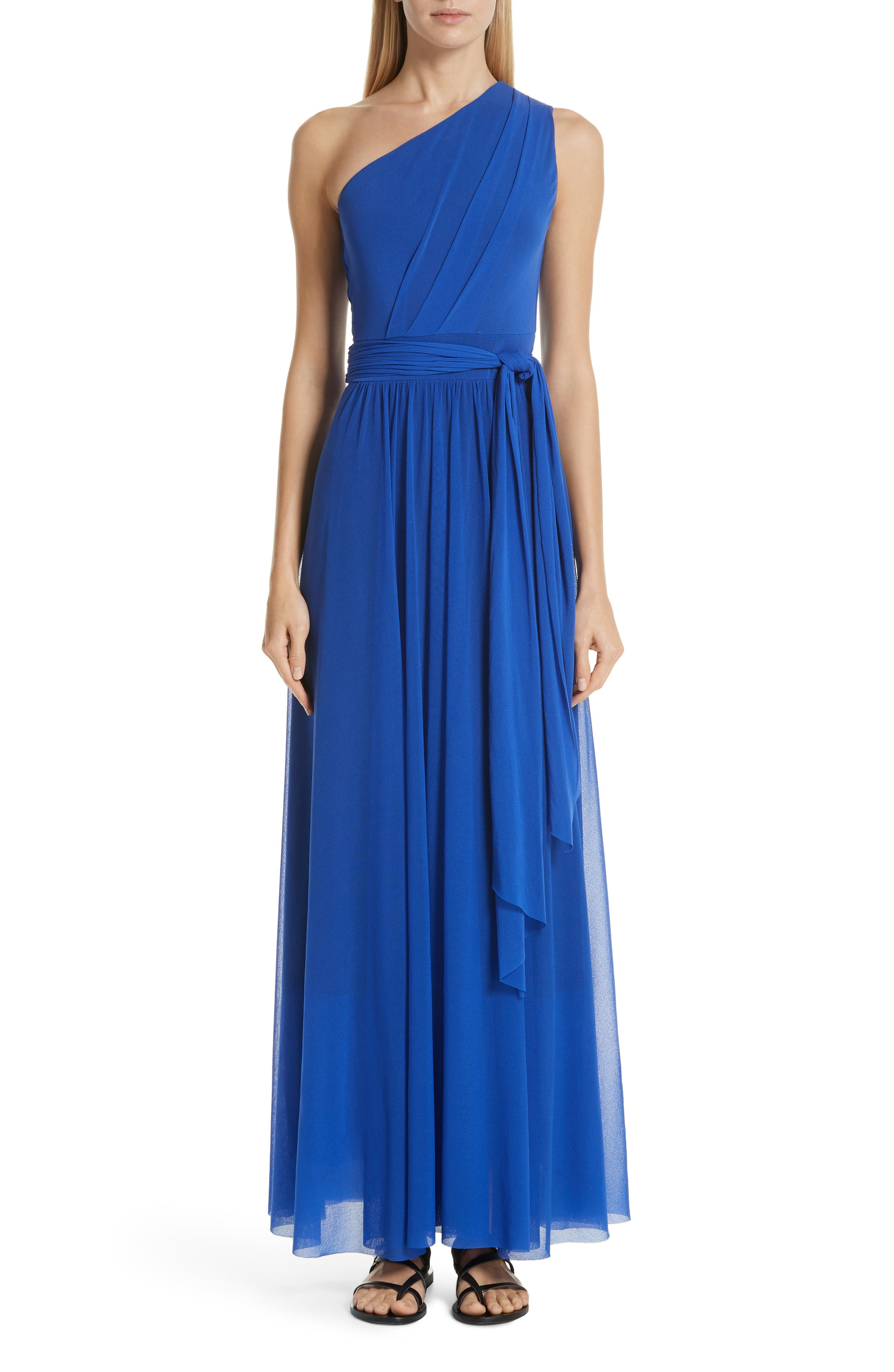 Fuzzi Tulle One-Shoulder Evening Dress, Blue