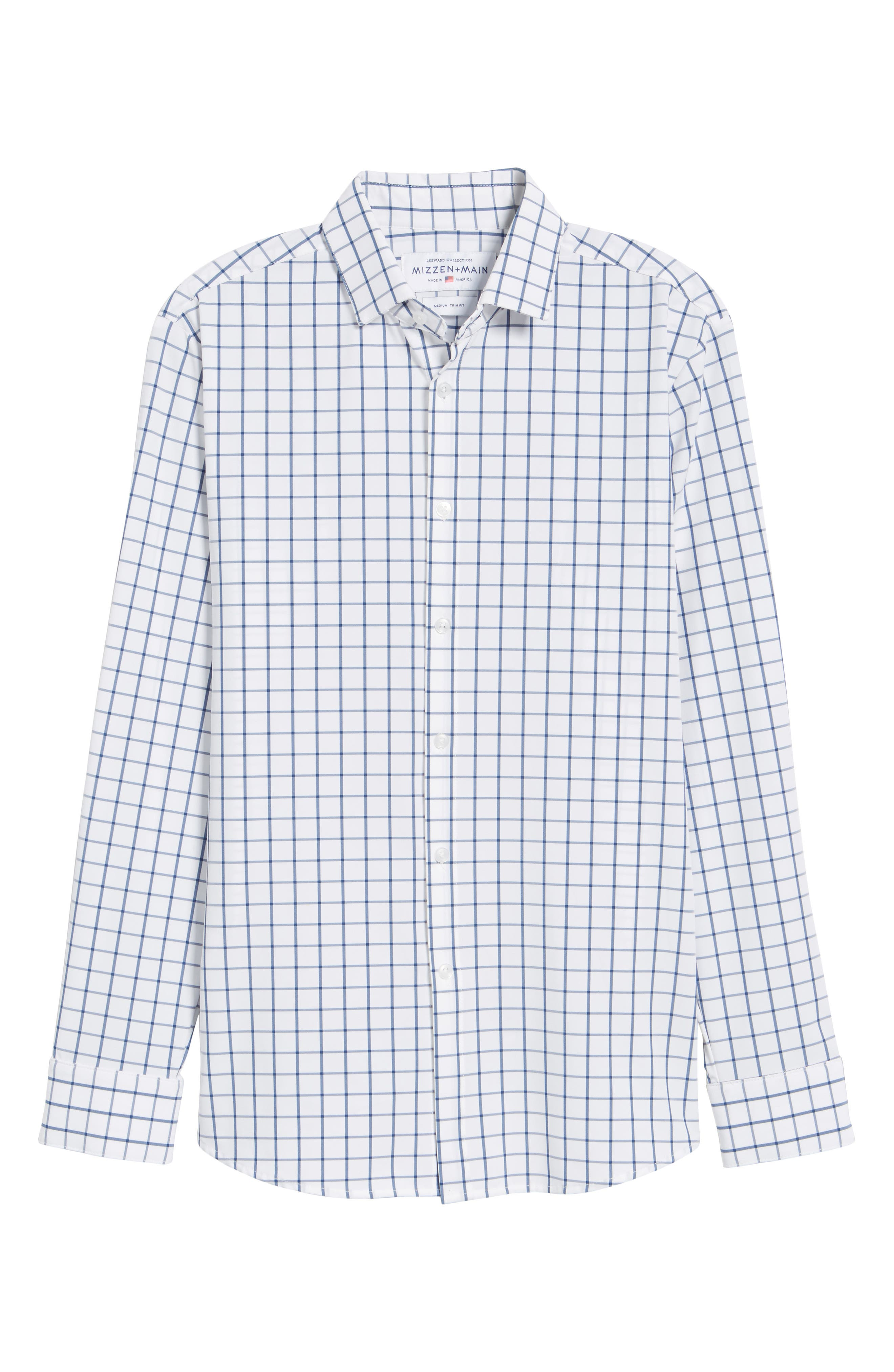 Bowie Windowpane Performance Sport Shirt,                             Alternate thumbnail 6, color,                             NAVY