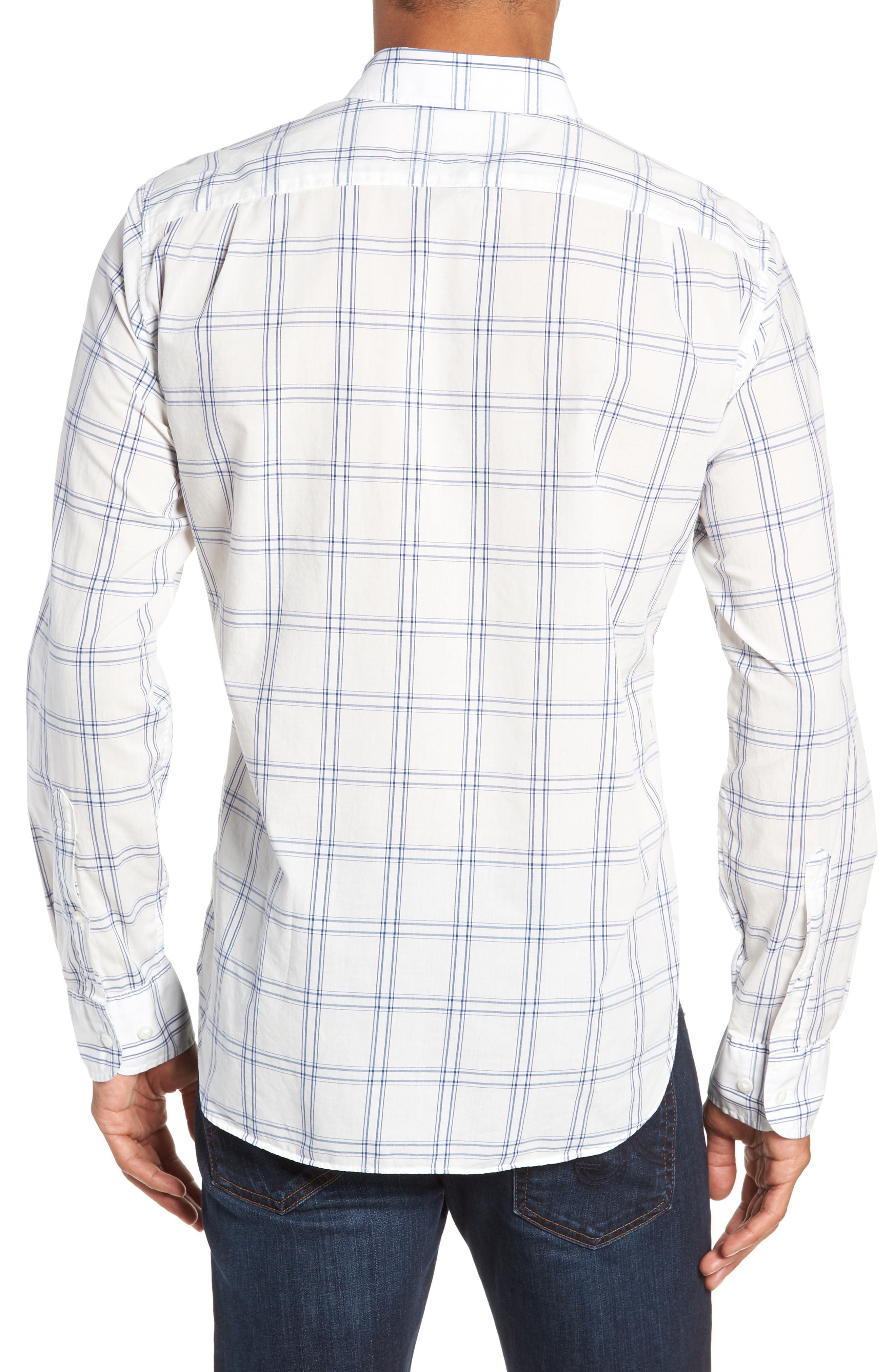 Summerweight Slim Fit Plaid Sport Shirt,                             Alternate thumbnail 3, color,                             100