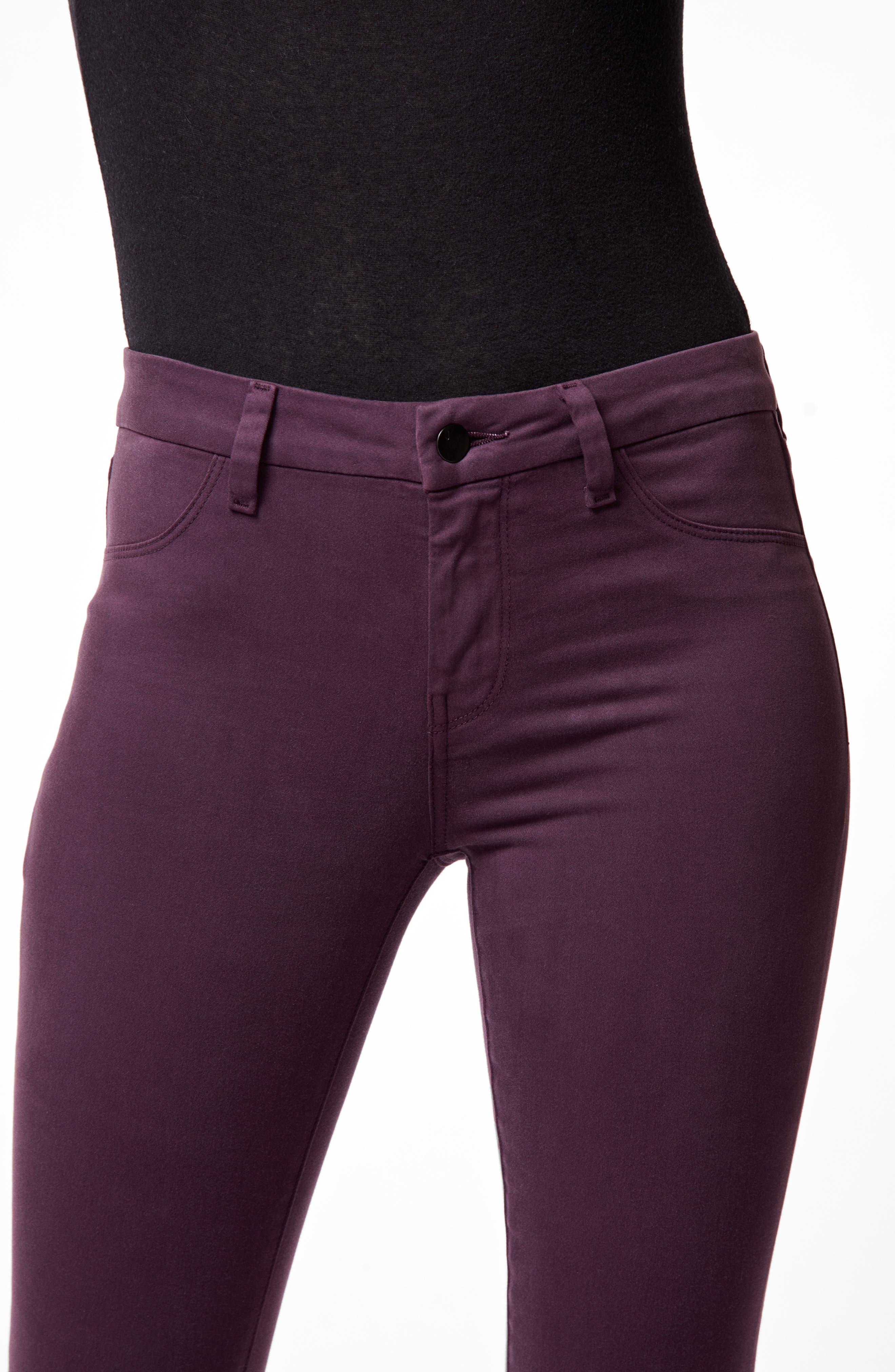 Anja Cuff Crop Jeans,                             Alternate thumbnail 4, color,                             AUBERGINE
