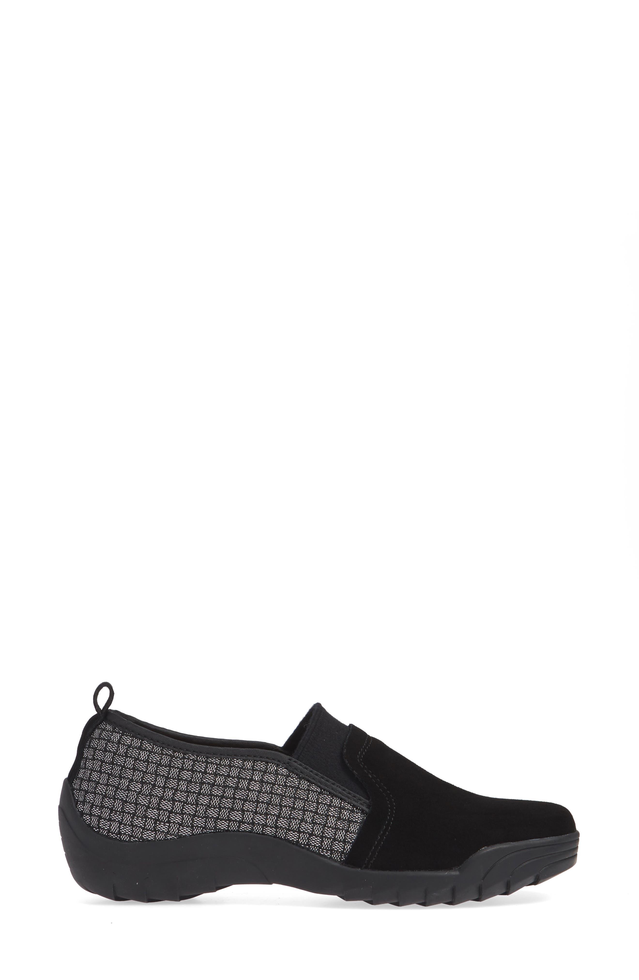 Swift Slip-On Sneaker,                             Alternate thumbnail 3, color,                             BLACK SHIMMER LEATHER