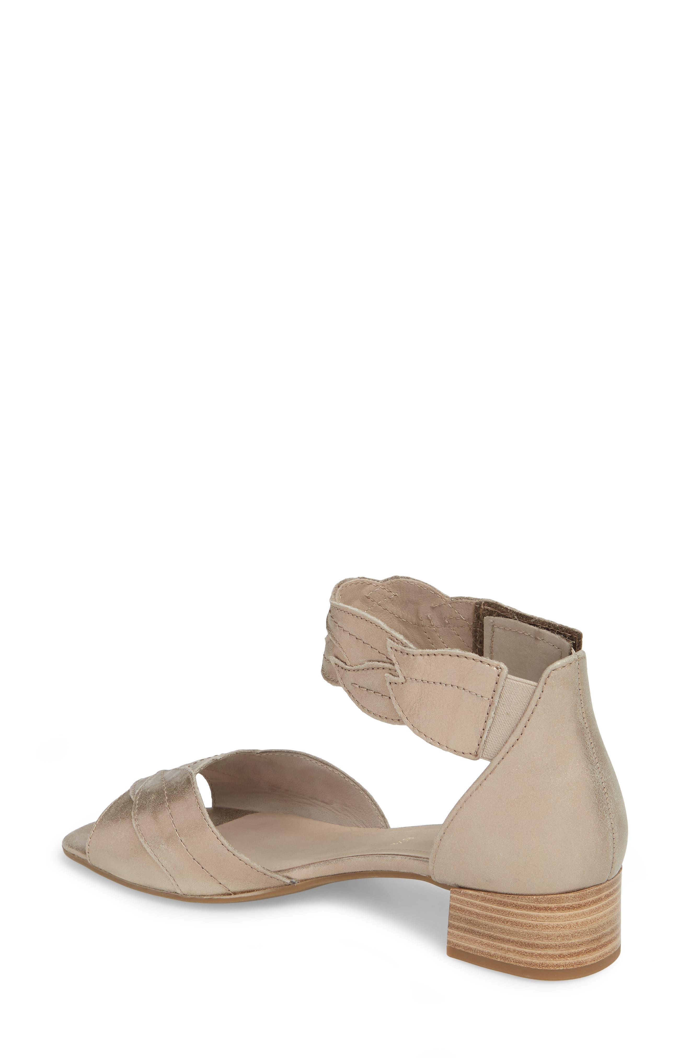 Leaf Ankle Strap Sandal,                             Alternate thumbnail 2, color,                             BEIGE METALLIC LEATHER