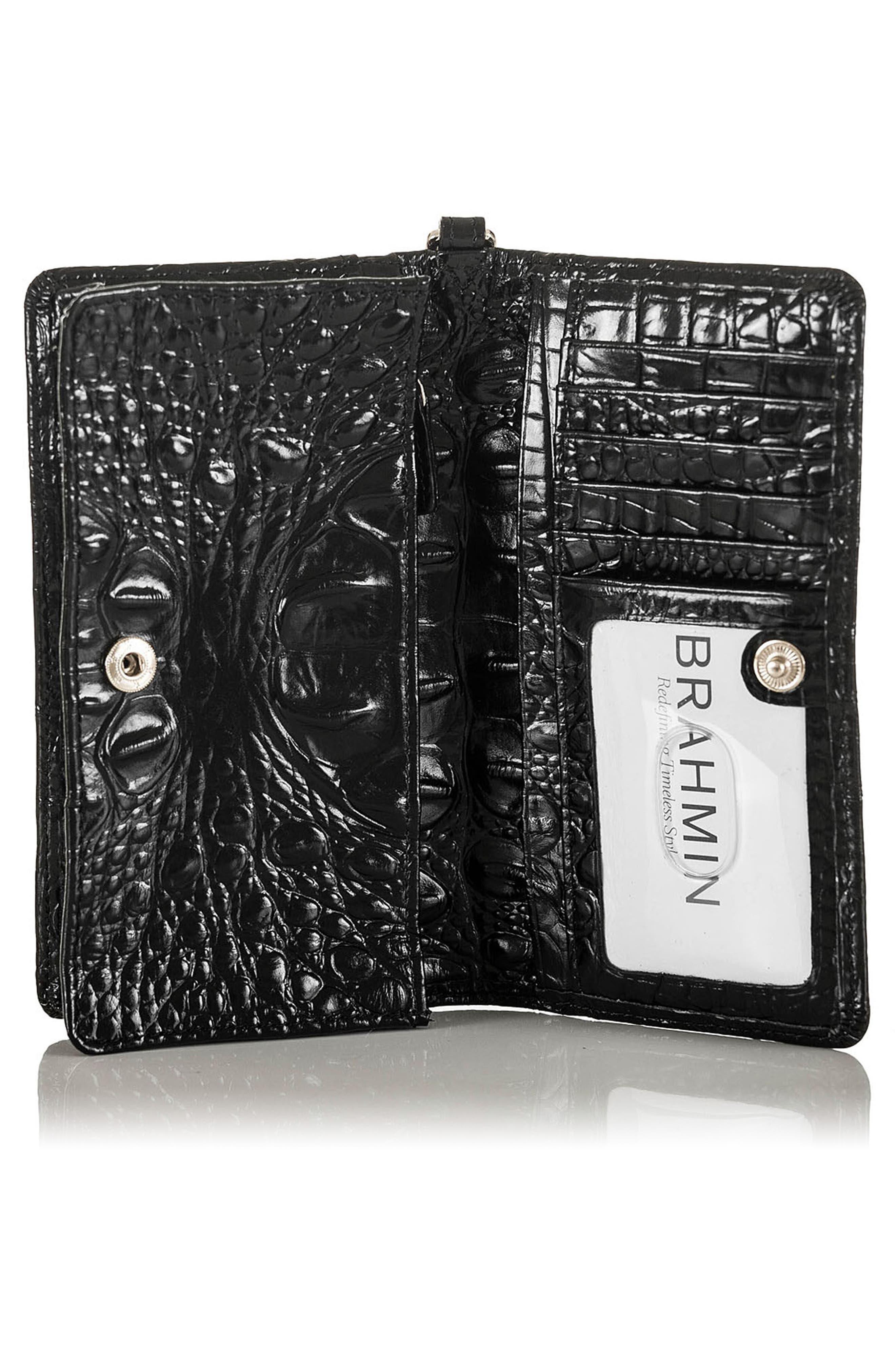 Debra Croc Embossed Leather Phone Wallet,                             Alternate thumbnail 2, color,                             001