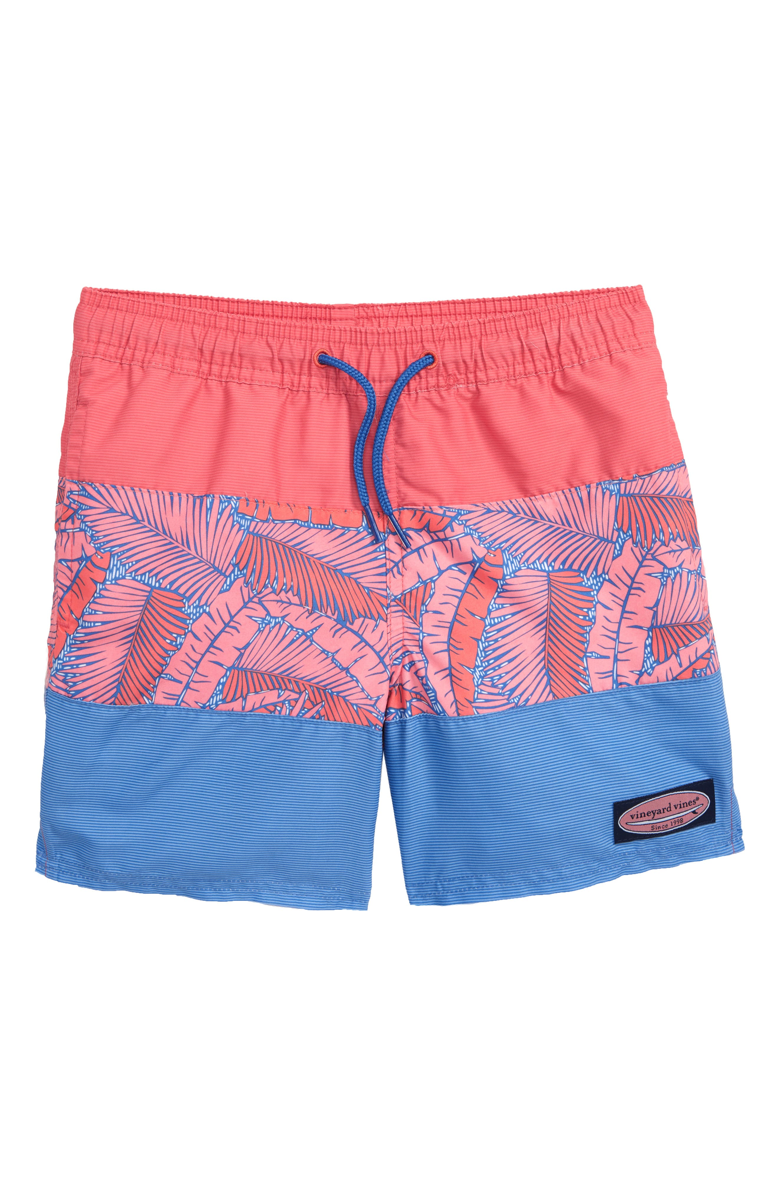 VINEYARD VINES Island Palm Pieced Chappy Swim Trunks, Main, color, WASHED NEON PINK