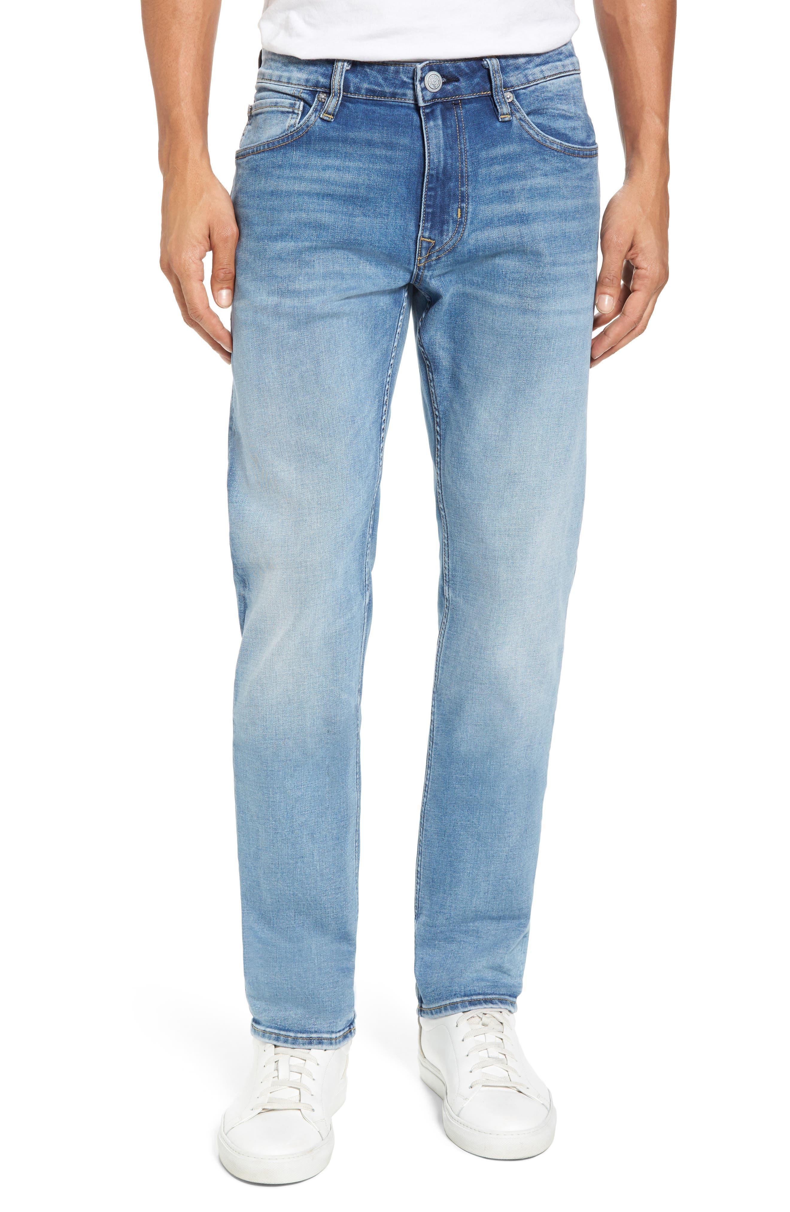 Slim Straight Leg Jeans,                             Main thumbnail 1, color,                             LIGHT WASH