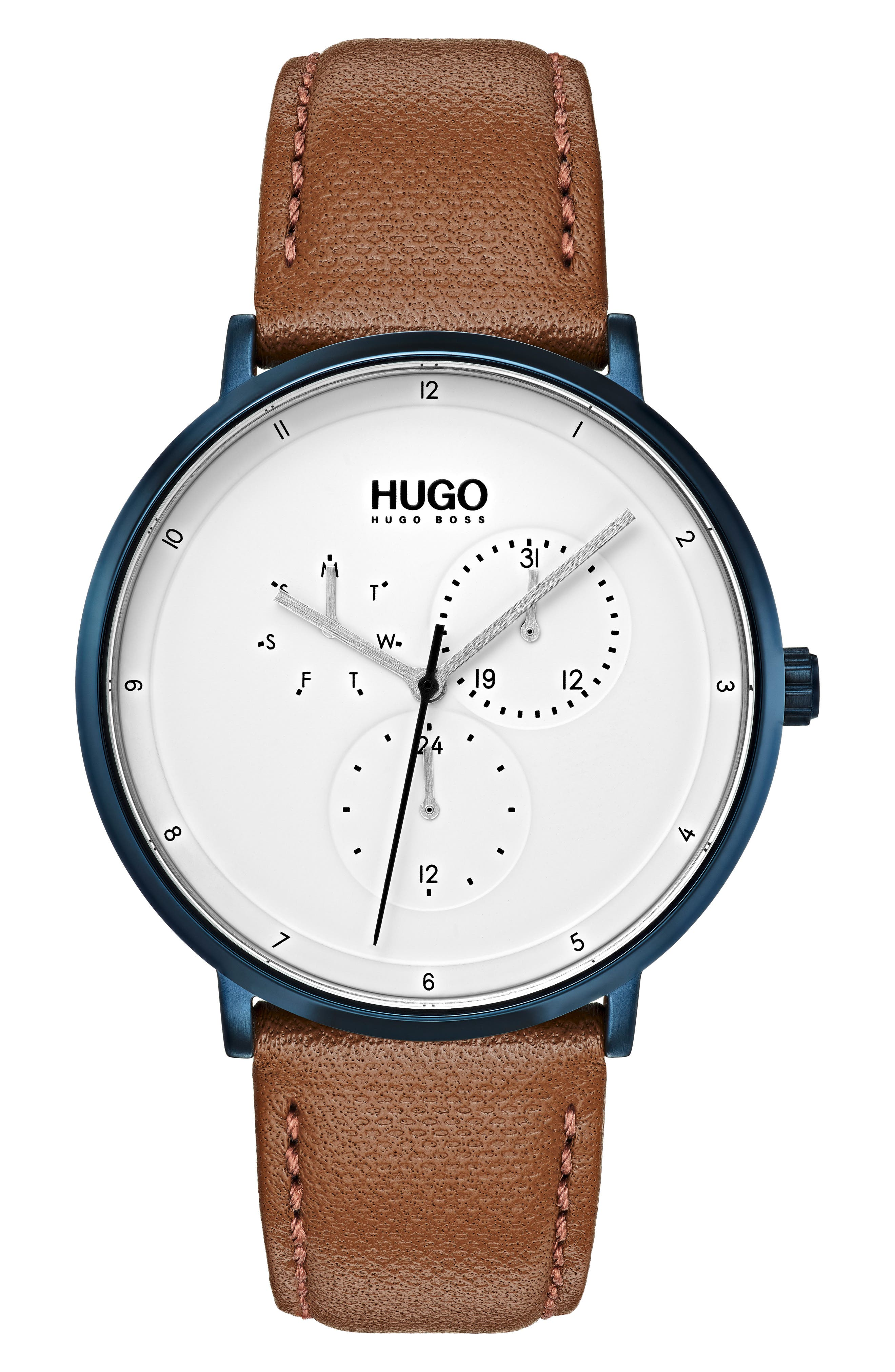 HUGO Ultra Slim Leather Strap Watch, 40Mm in White