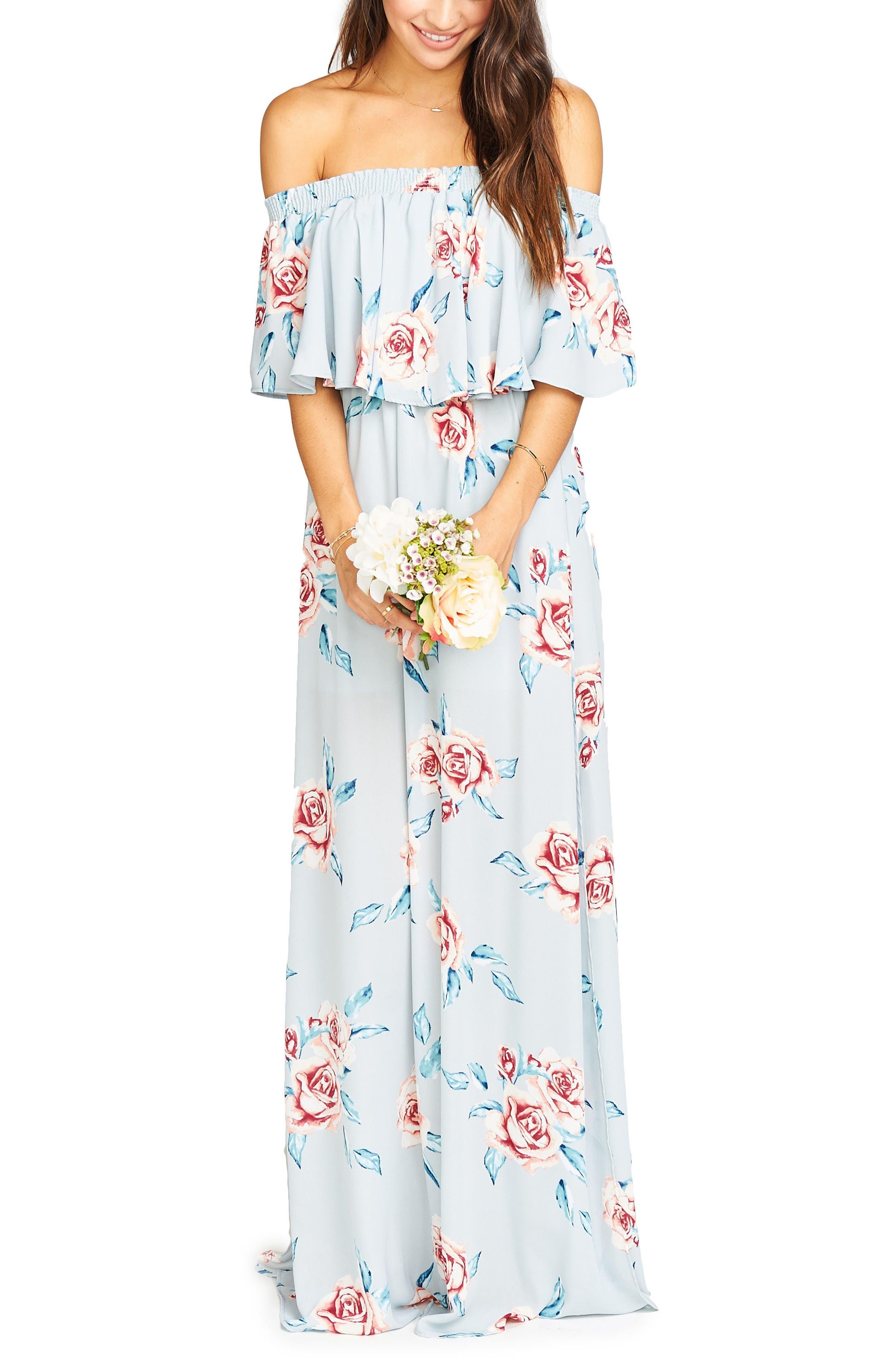 Show Me Your Mumu Hacienda Convertible Gown, Blue