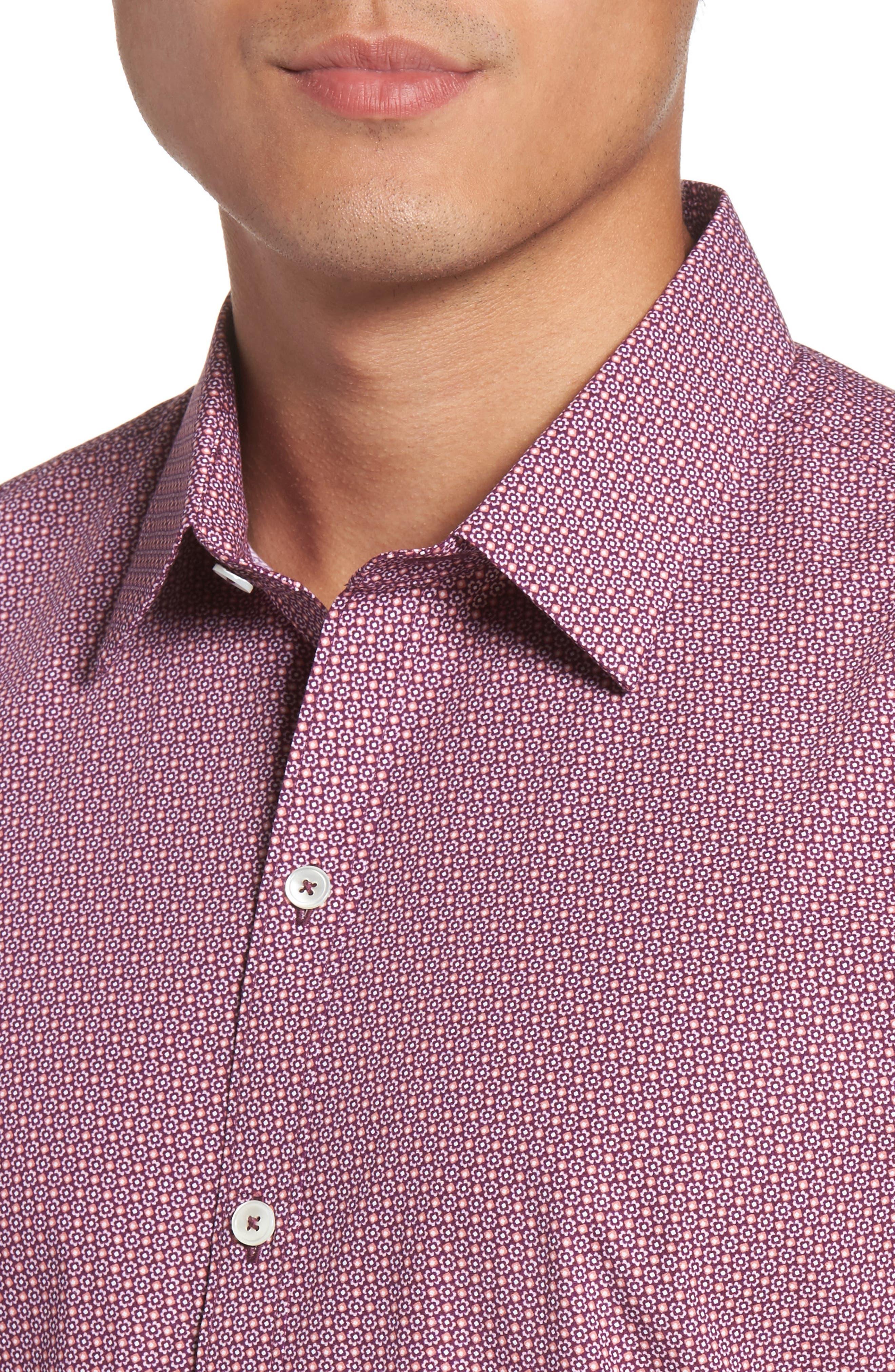 Riddle Slim Fit Print Sport Shirt,                             Alternate thumbnail 4, color,