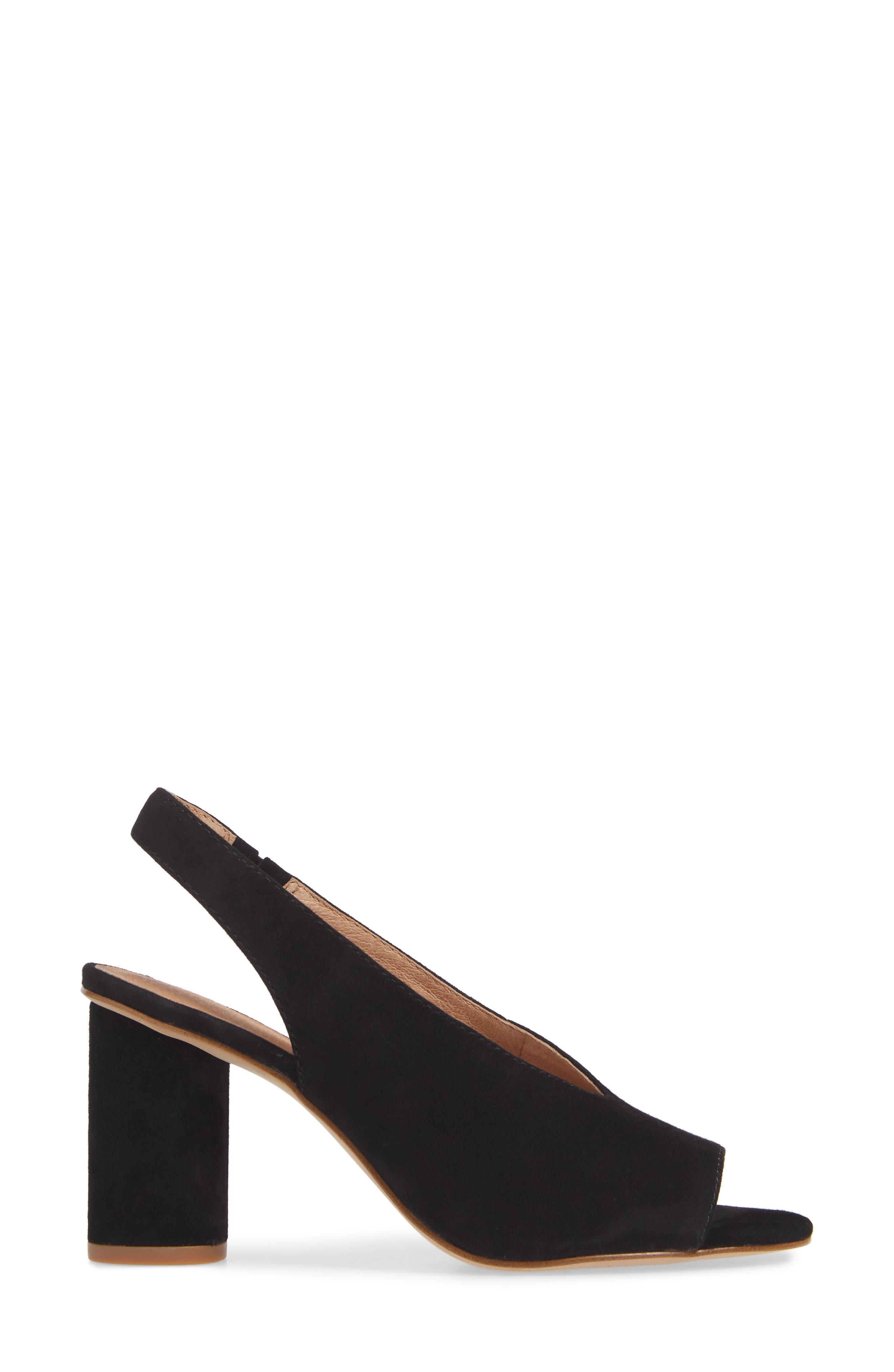 The Alana Slingback Sandal,                             Alternate thumbnail 3, color,                             TRUE BLACK SUEDE