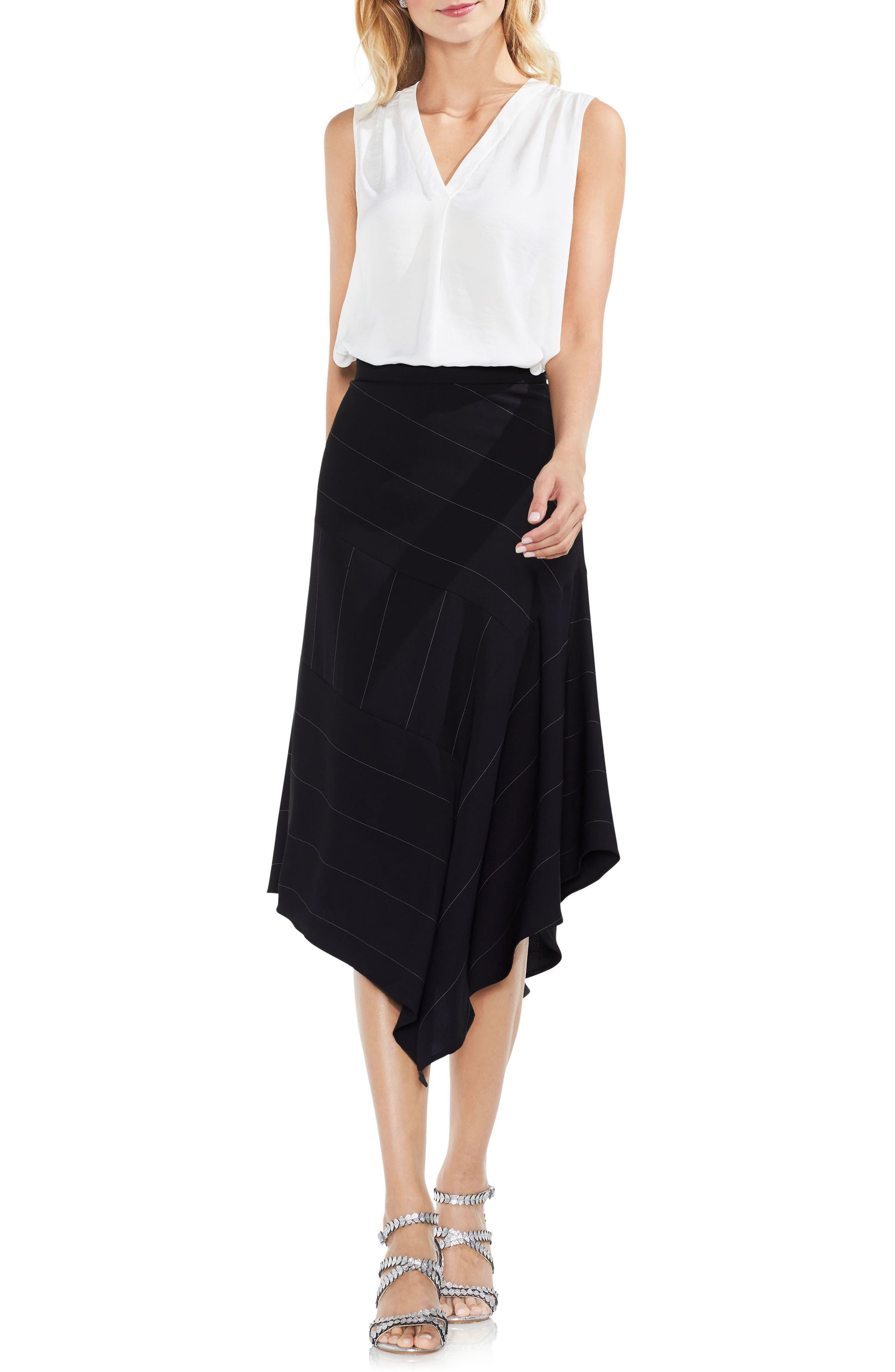 Chalk Stripe Asymmetrical Hem Skirt,                             Alternate thumbnail 6, color,                             006