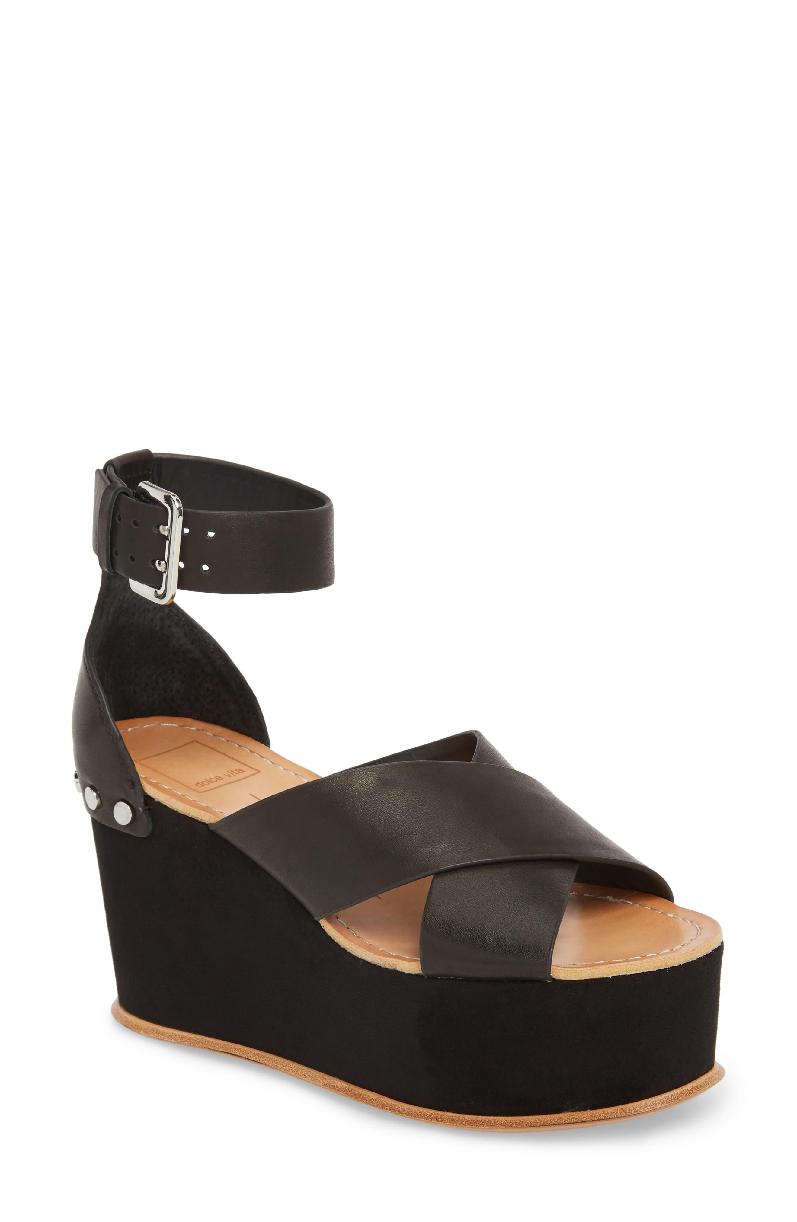 DOLCE VITA Dalrae Platform Wedge Sandal, Main, color, 001