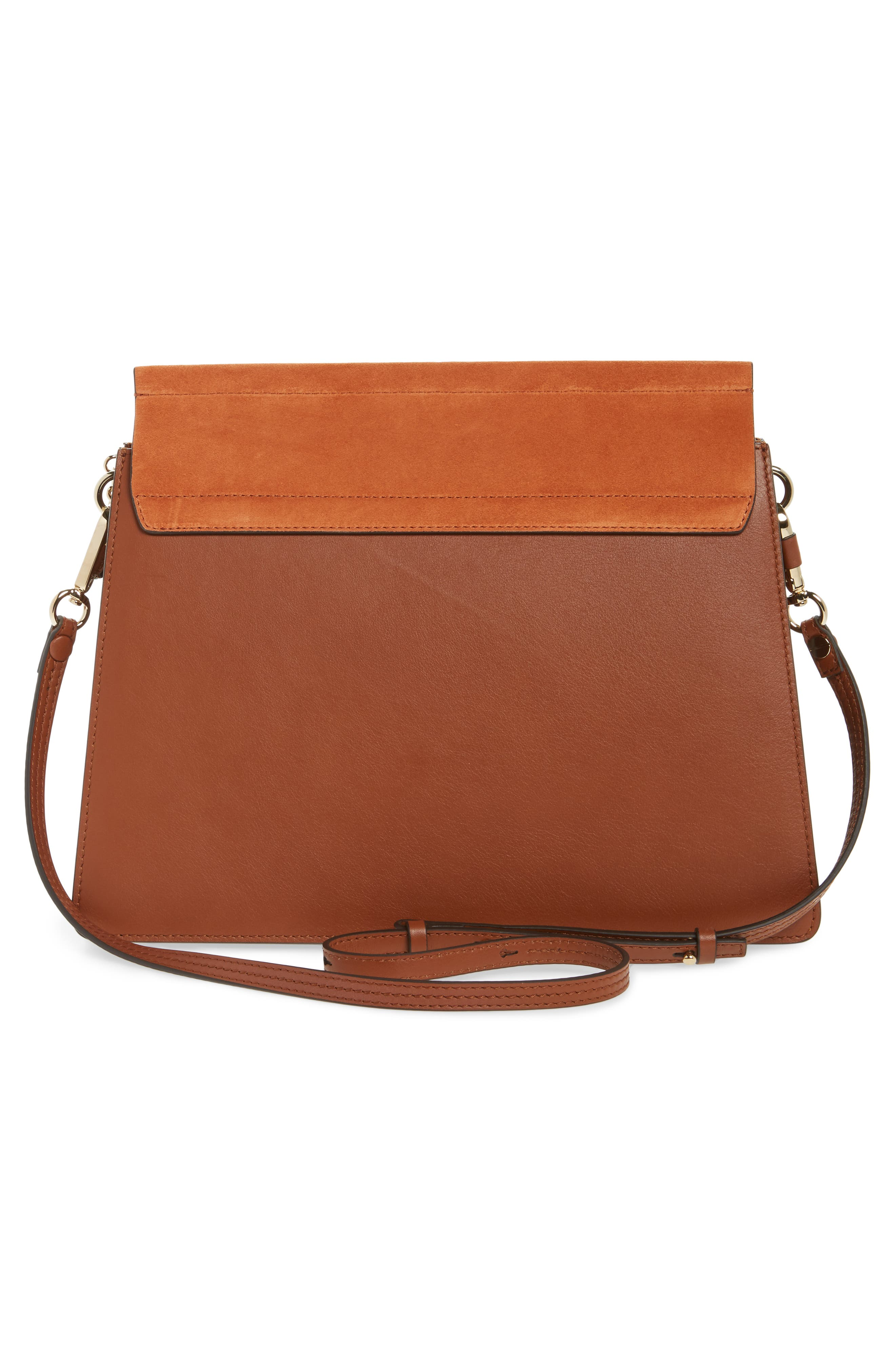 Faye Suede & Leather Shoulder Bag,                             Alternate thumbnail 3, color,                             CLASSIC TOBACCO