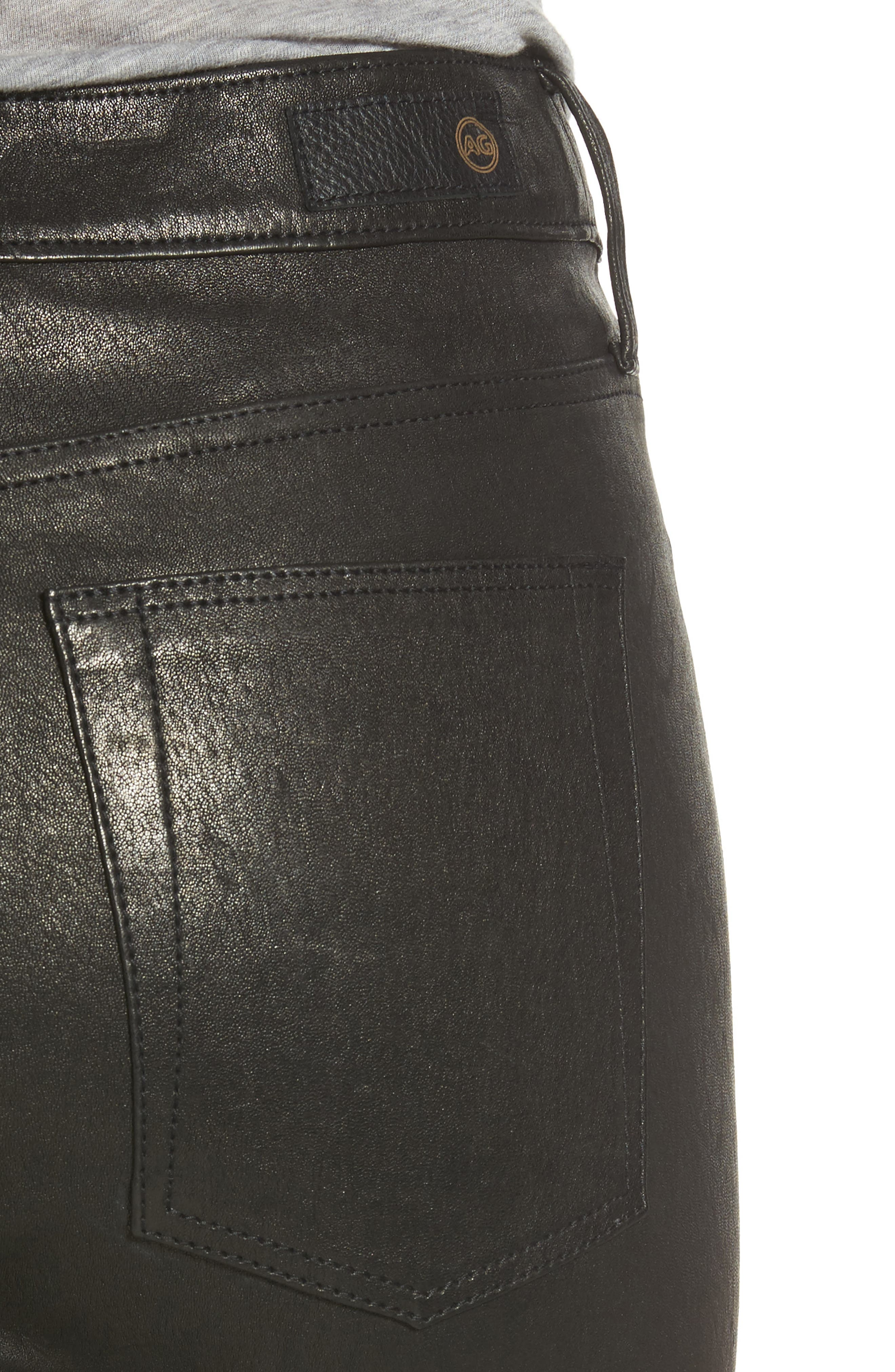 Farrah Leather Skinny Jeans,                             Alternate thumbnail 10, color,
