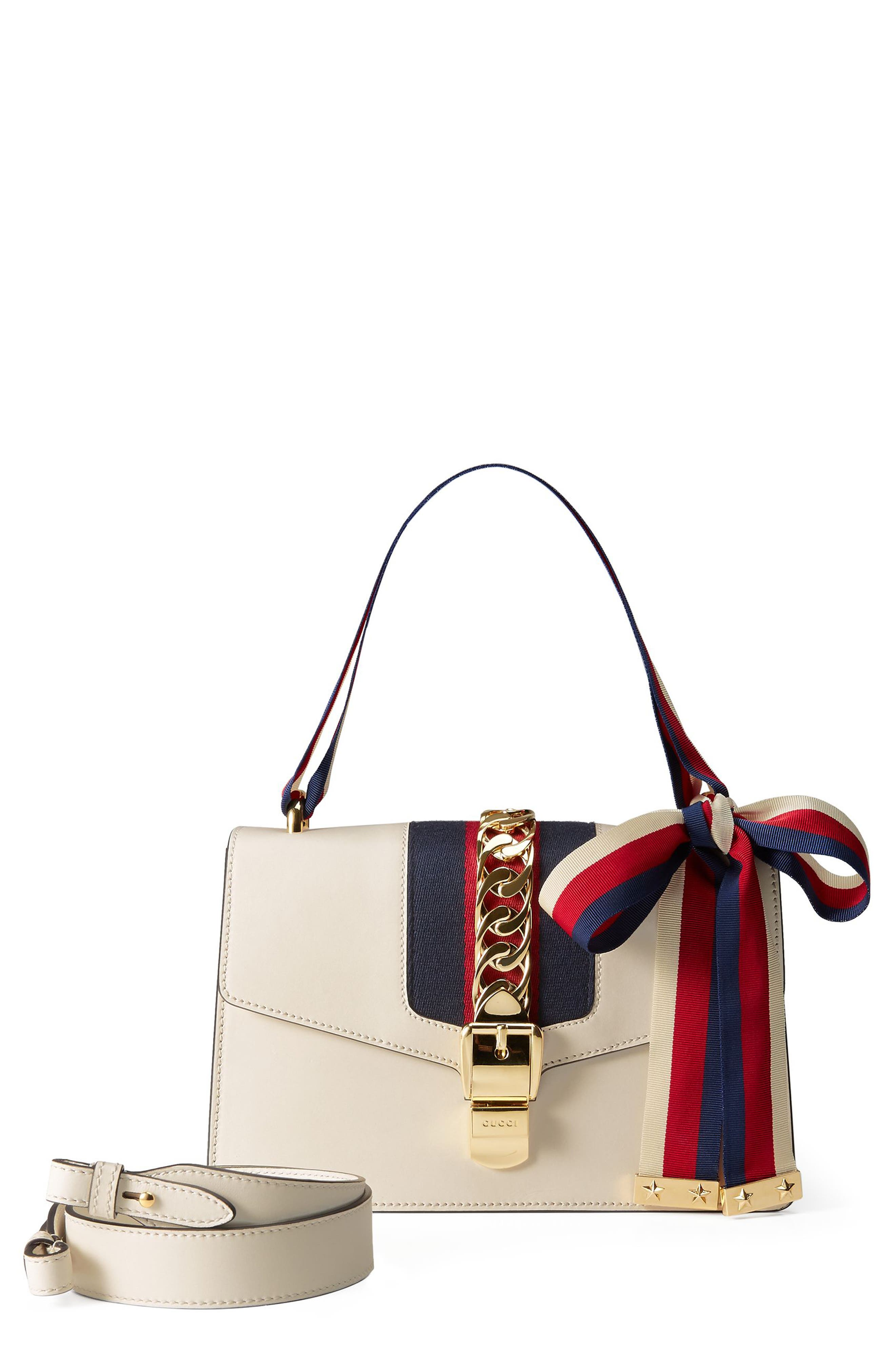 GUCCI Small Sylvie Leather Shoulder Bag, Main, color, WHITE
