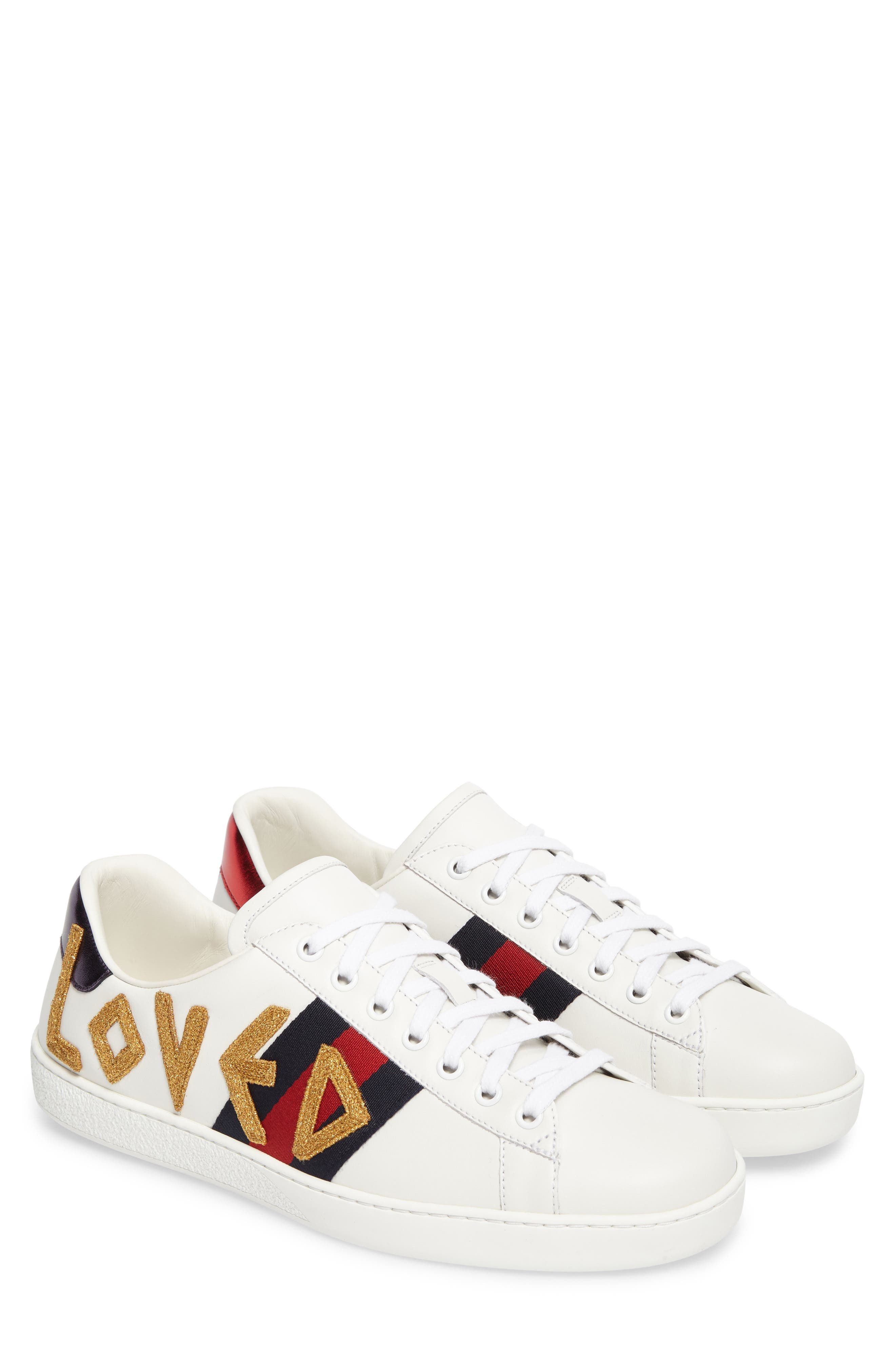 New Ace Embroidered Sneaker,                         Main,                         color, WHITE