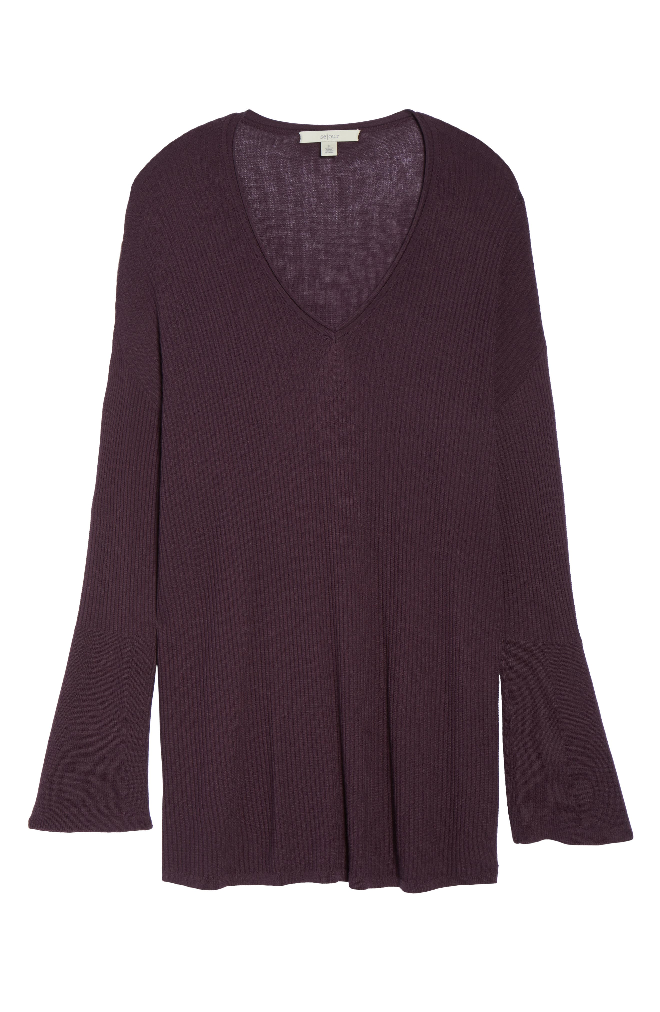 Ribbed Bell Sleeve Sweater,                             Alternate thumbnail 12, color,