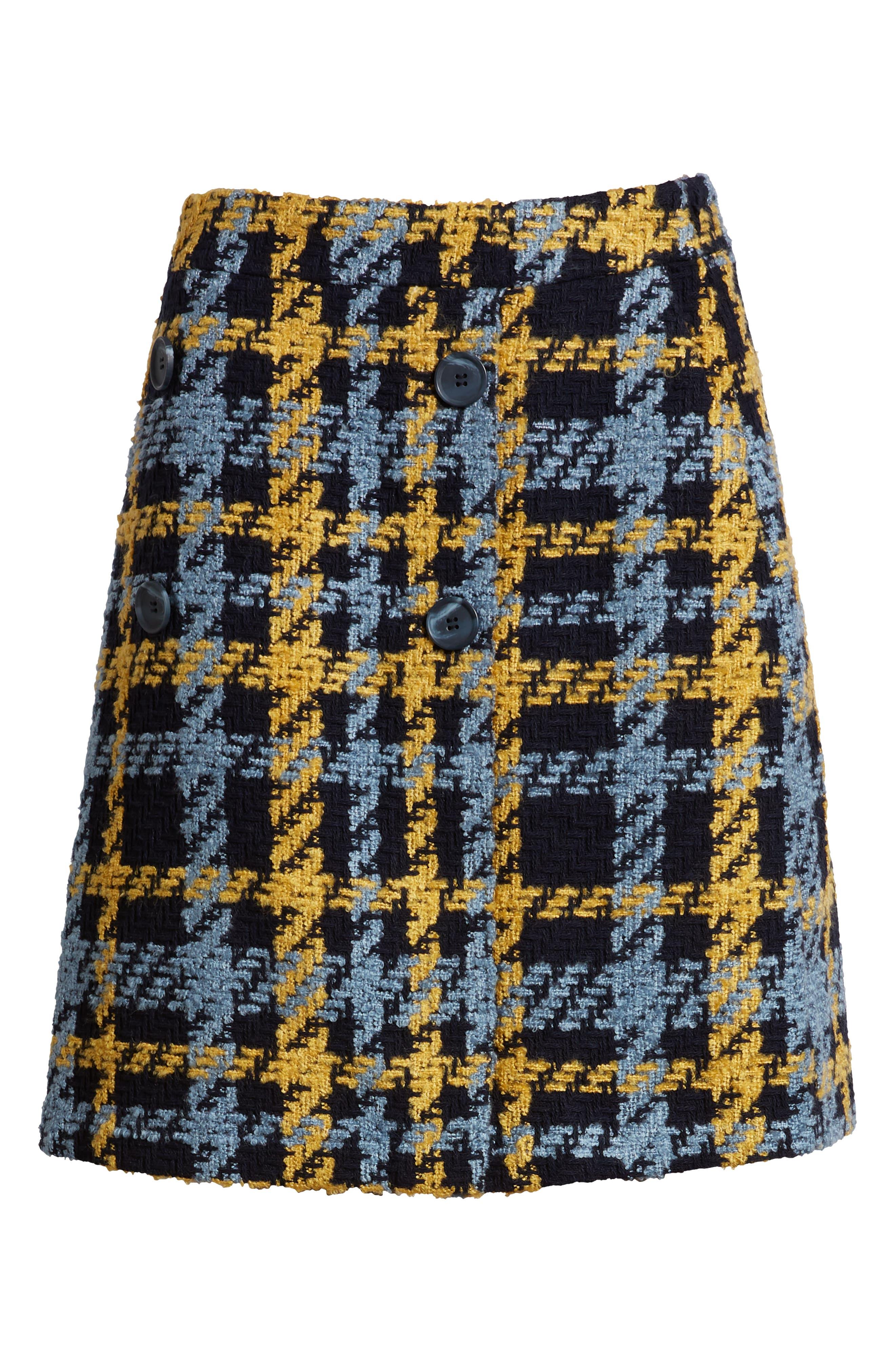 Button Detail Plaid Skirt,                             Alternate thumbnail 6, color,                             410