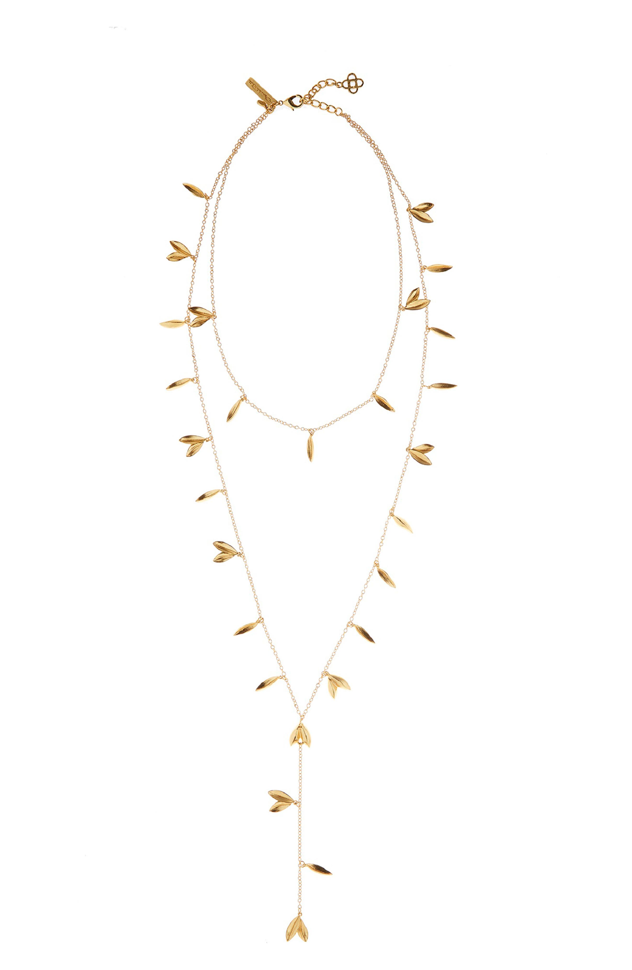 Leaf Layered Y-Necklace, Main, color, GOLD