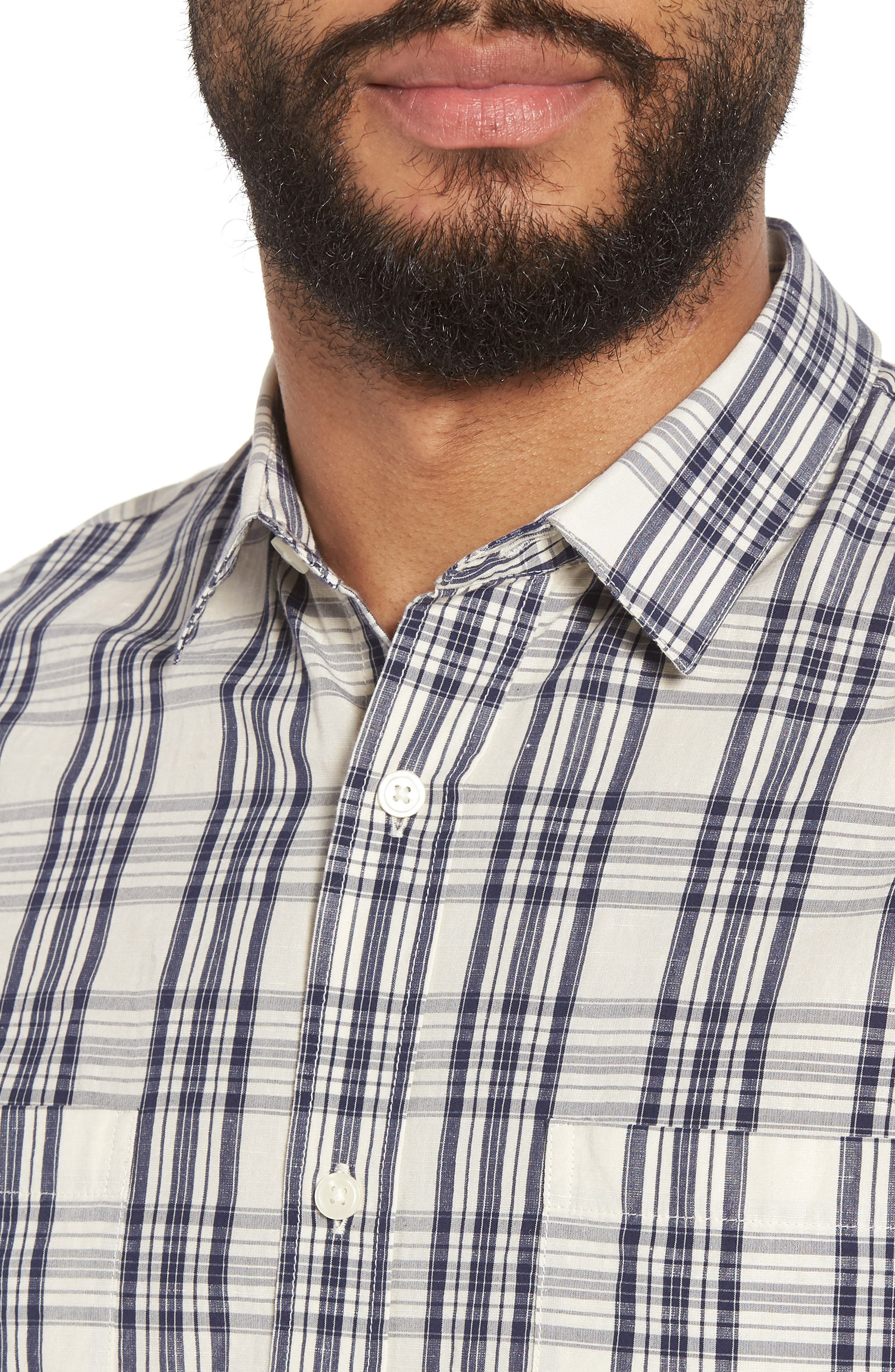 Slim Fit Plaid Sport Shirt,                             Alternate thumbnail 4, color,                             020