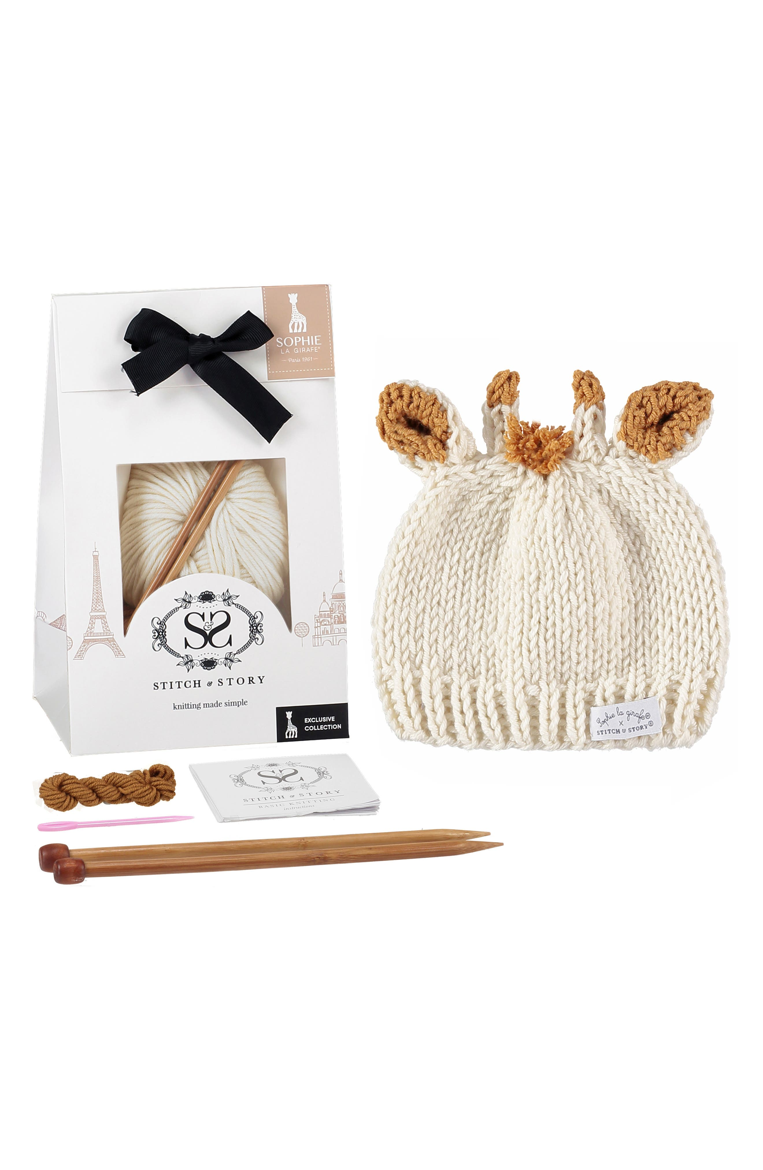 SOPHIE LA GIRAFE,                             Baby Hat Knitting Kit,                             Main thumbnail 1, color,                             IVORY