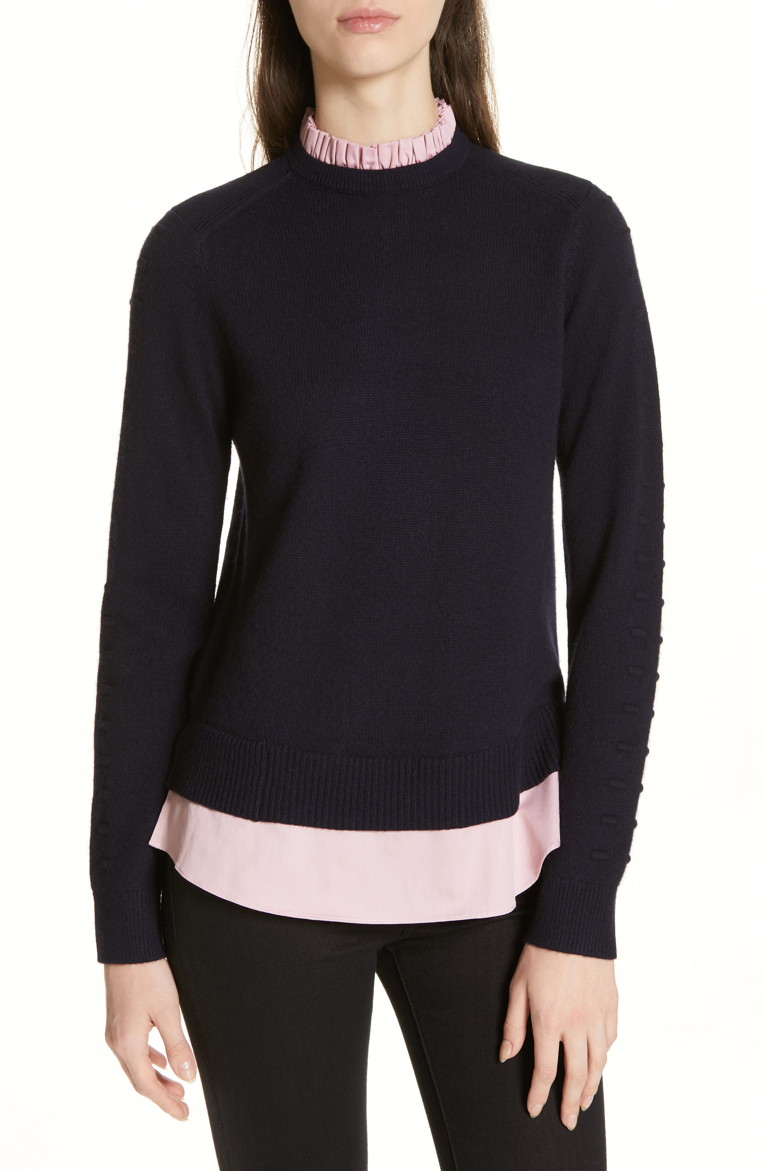 Mock Two-Piece Sweater,                             Main thumbnail 1, color,                             NAVY