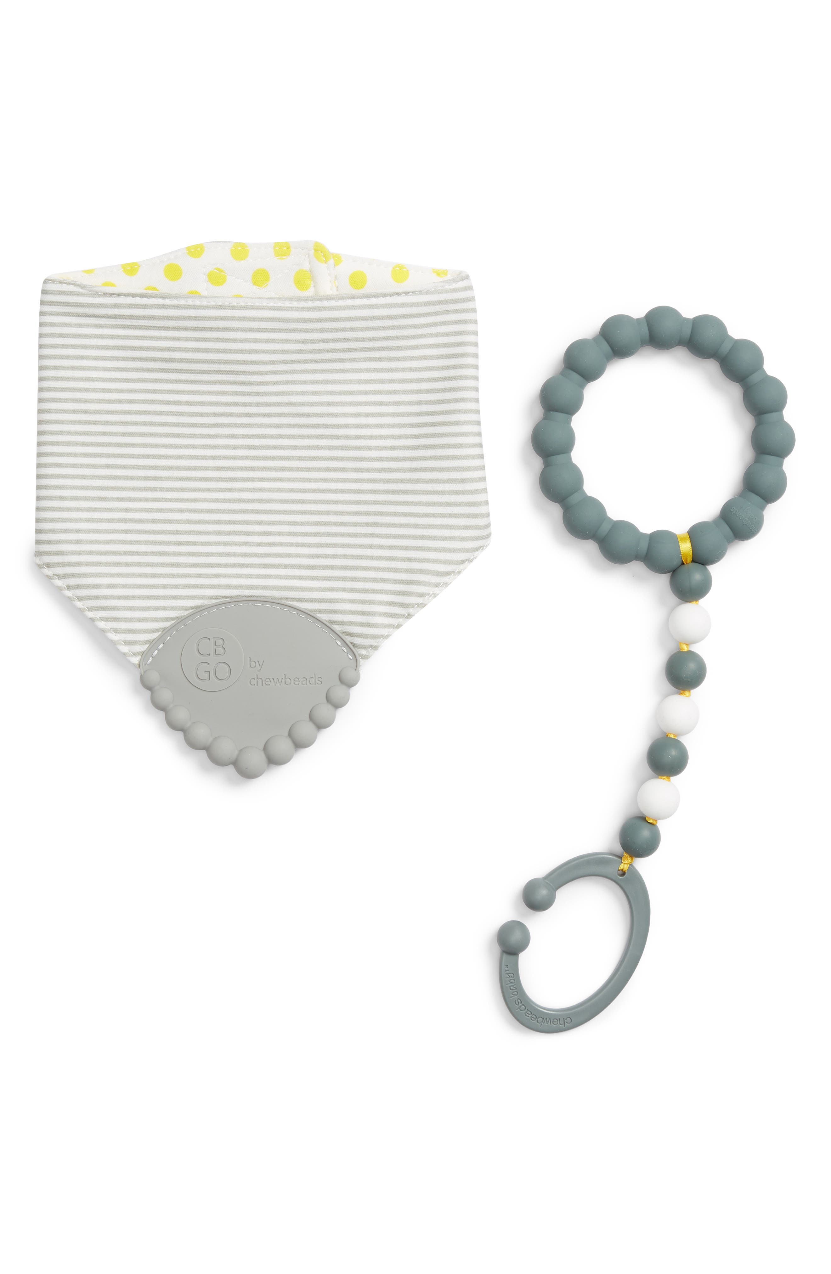 Drool Bib & Stroller Toy Set,                             Main thumbnail 1, color,                             GREY